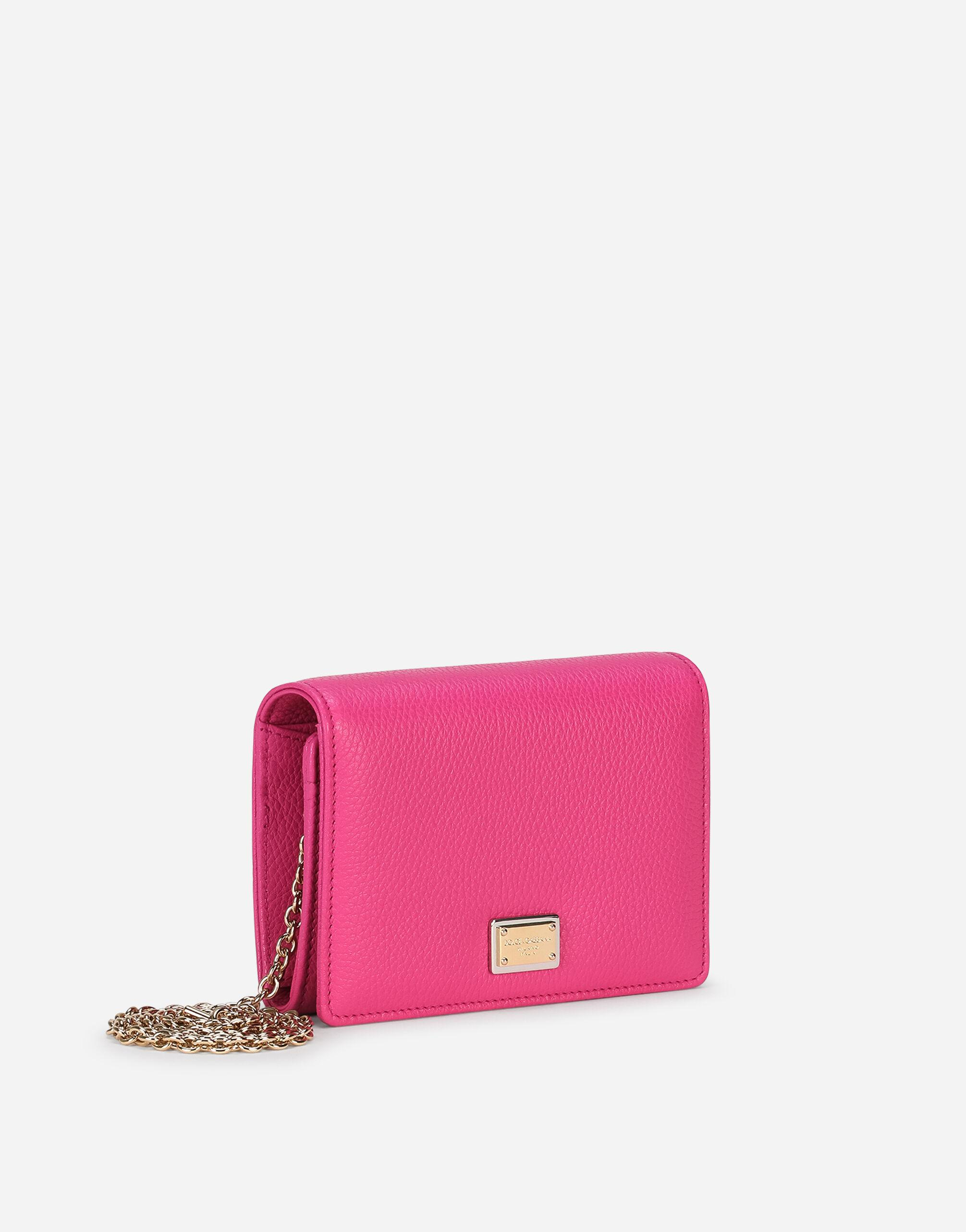 Tumbled calfskin wallet with chain detail 1