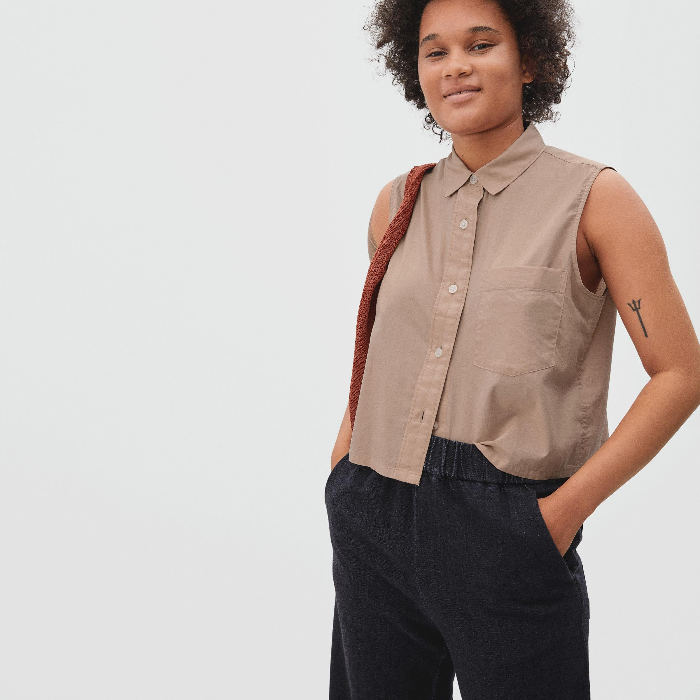 The Silky Cotton Cropped Cut-Off Shirt