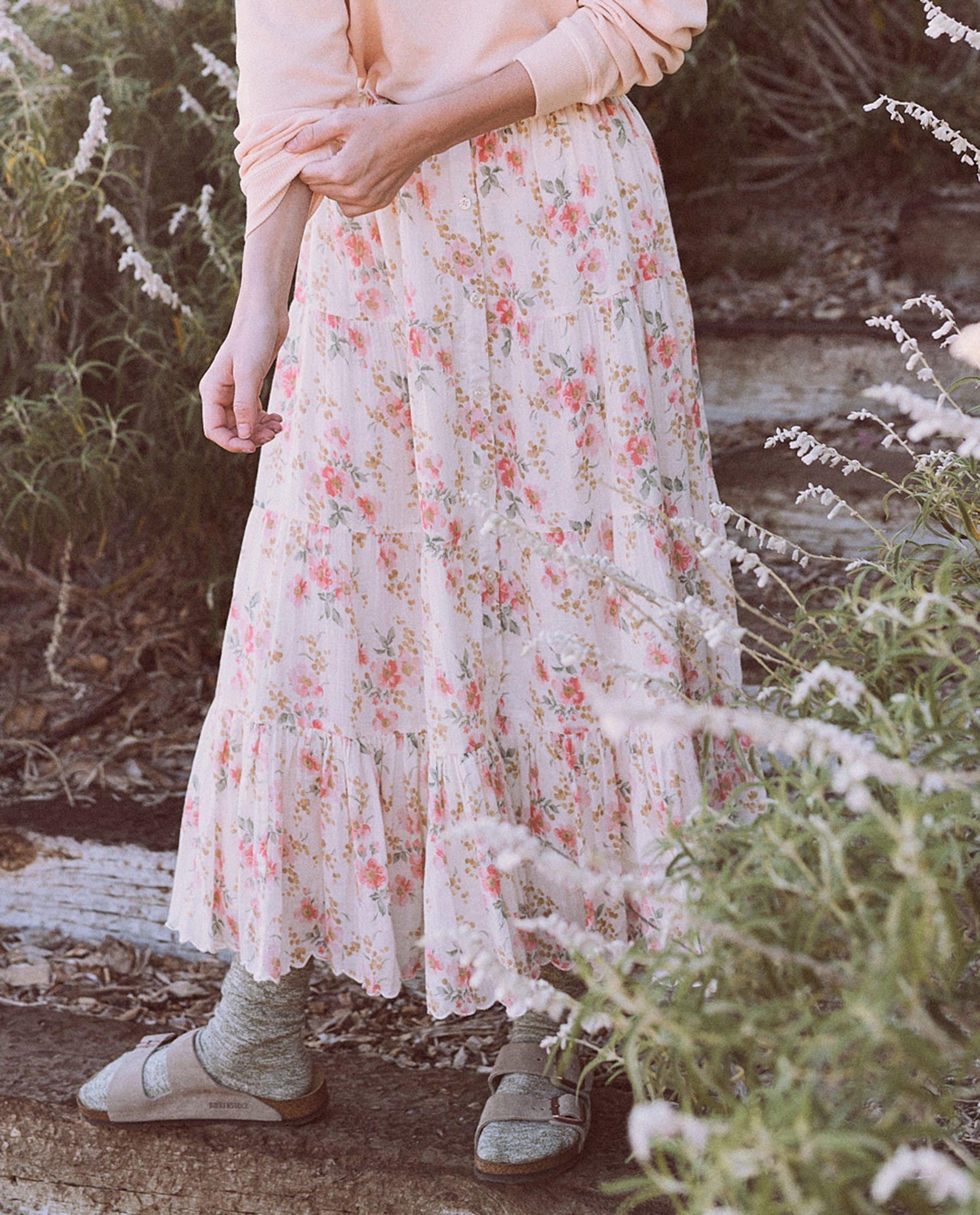 The Button Up Tier Skirt. -- Pink Sweet Pea Floral 2