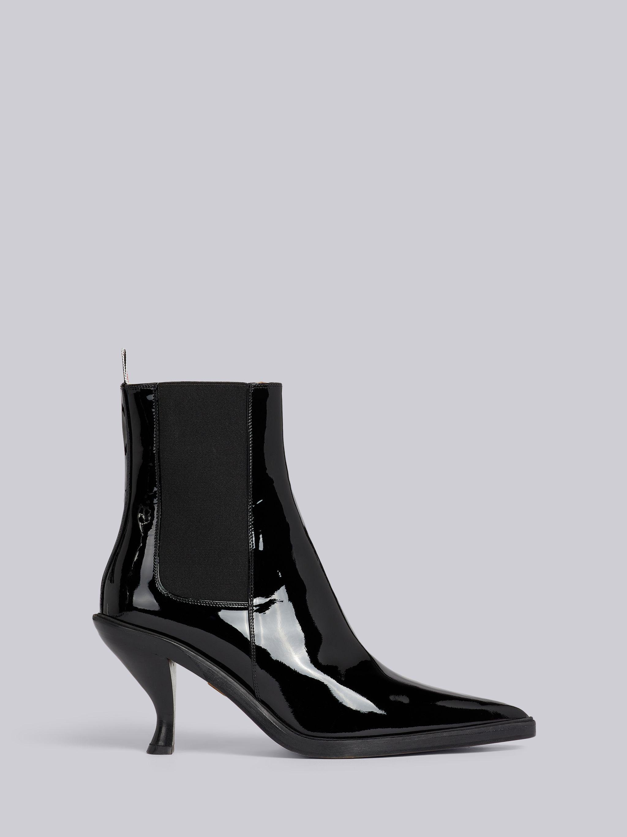 Black Soft Patent Leather 75mm Curved Heel Chelsea Boot