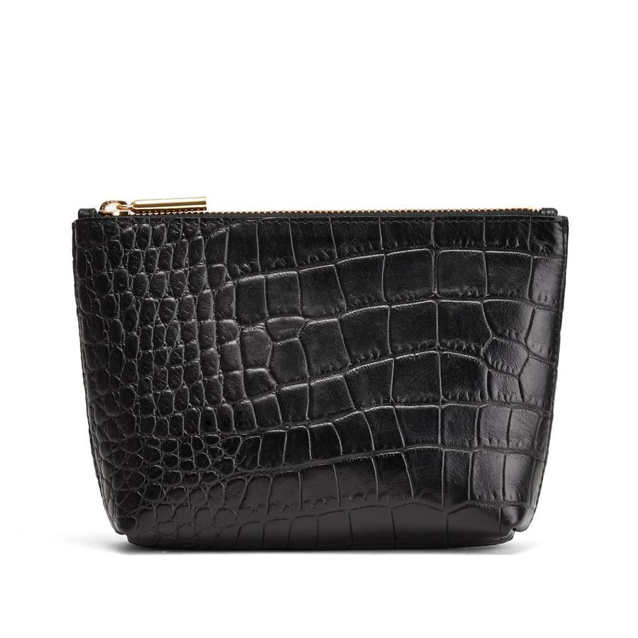 Women's Mini Leather Zipper Pouch in Textured Black | Size: Mini | Croc-Embossed by Cuyana