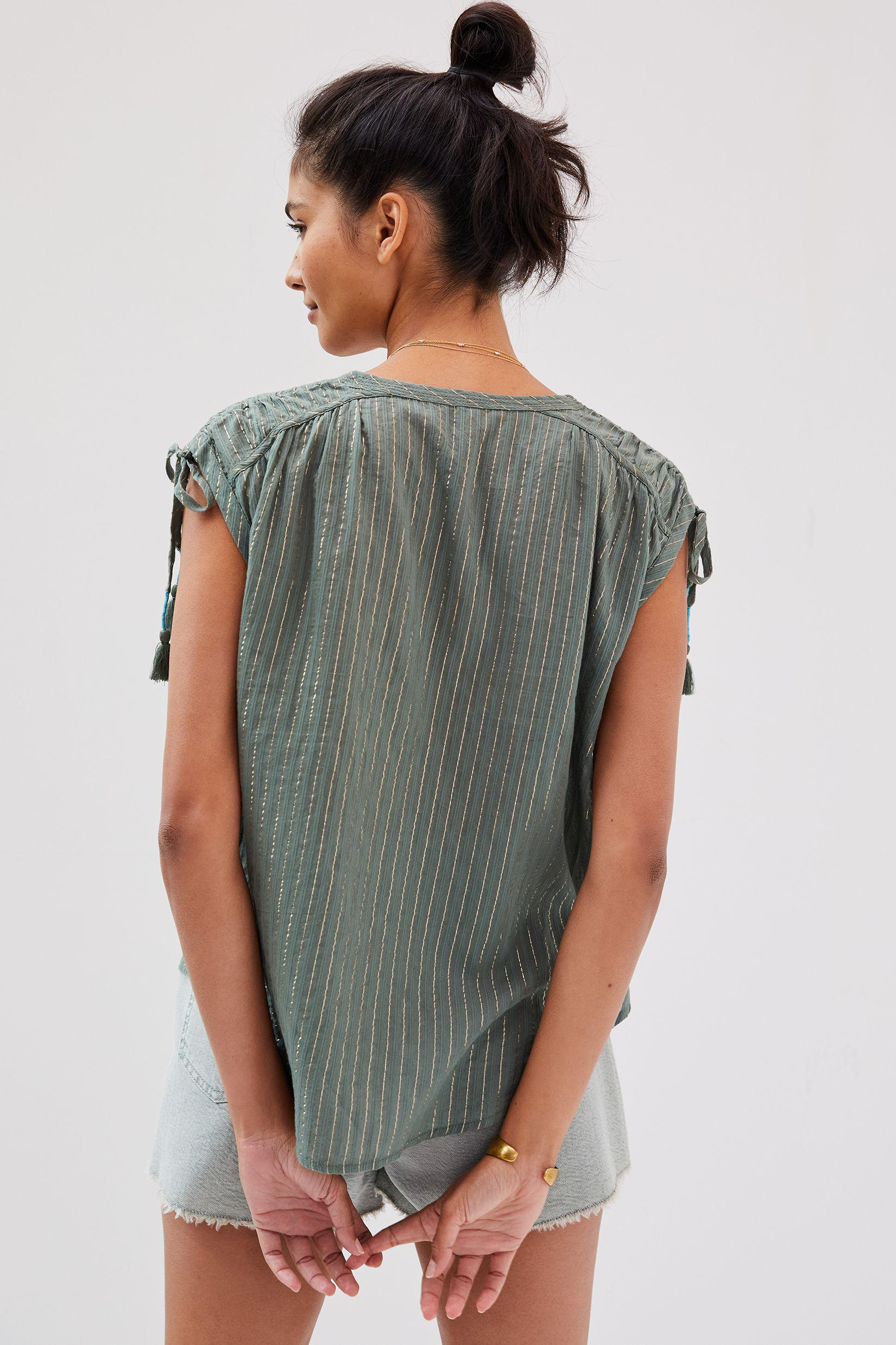 Shirred Cap-Sleeved Blouse 2