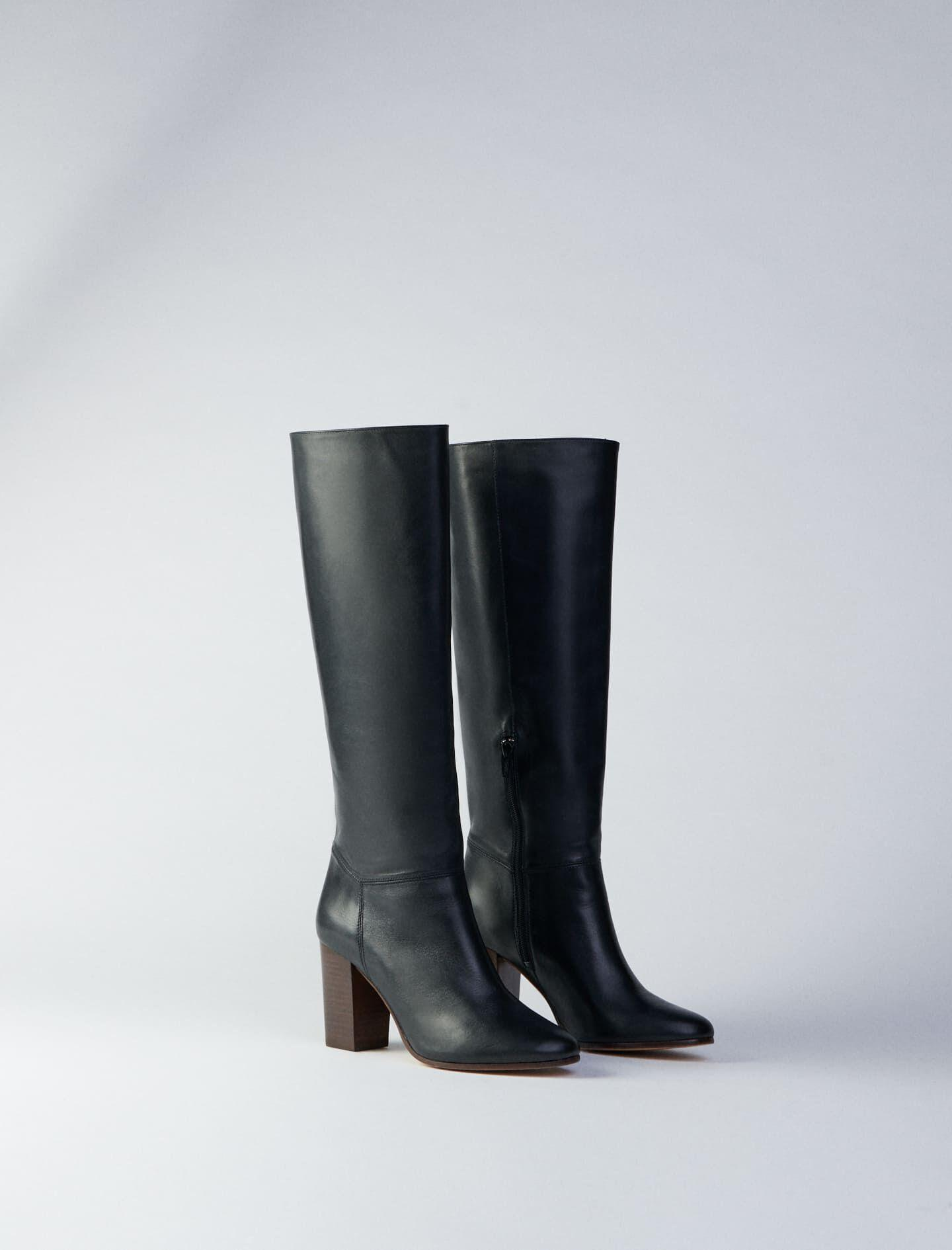 HEELED SMOOTH LEATHER BOOTS 2