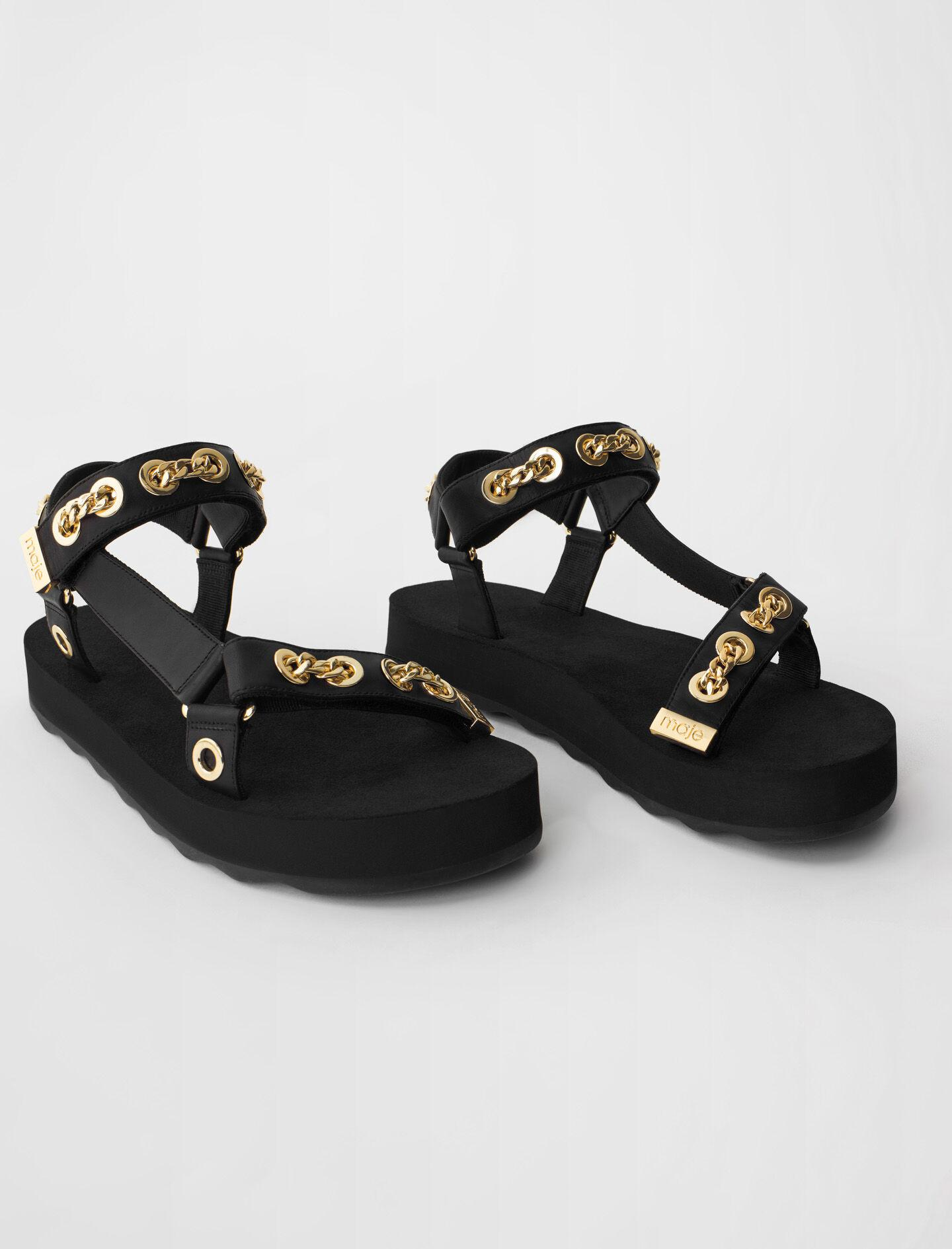 LEATHER SANDALS WITH EYELETS AND CHAIN 1