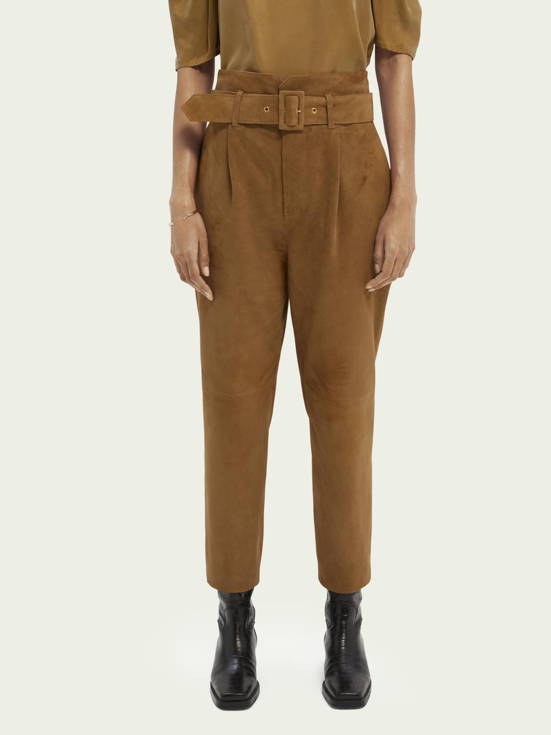 Belted suede paper bag trousers