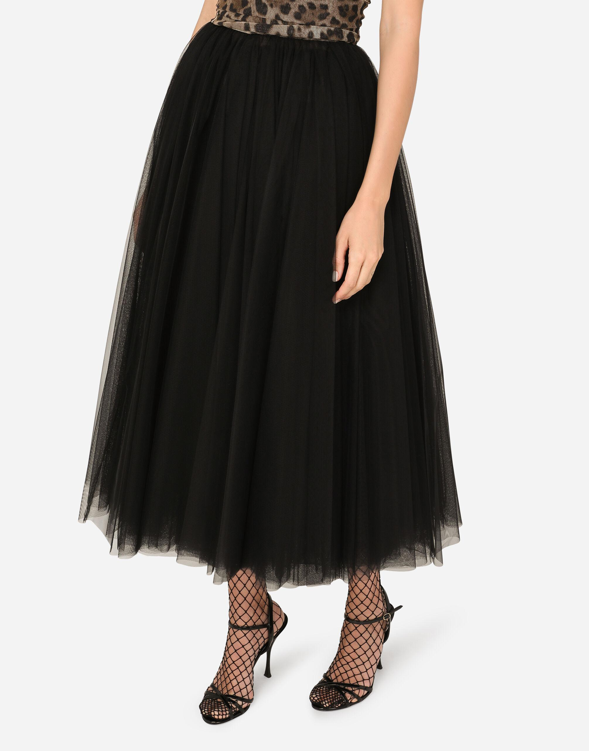 Calf-length dress in leopard-print and solid-colour tulle 3
