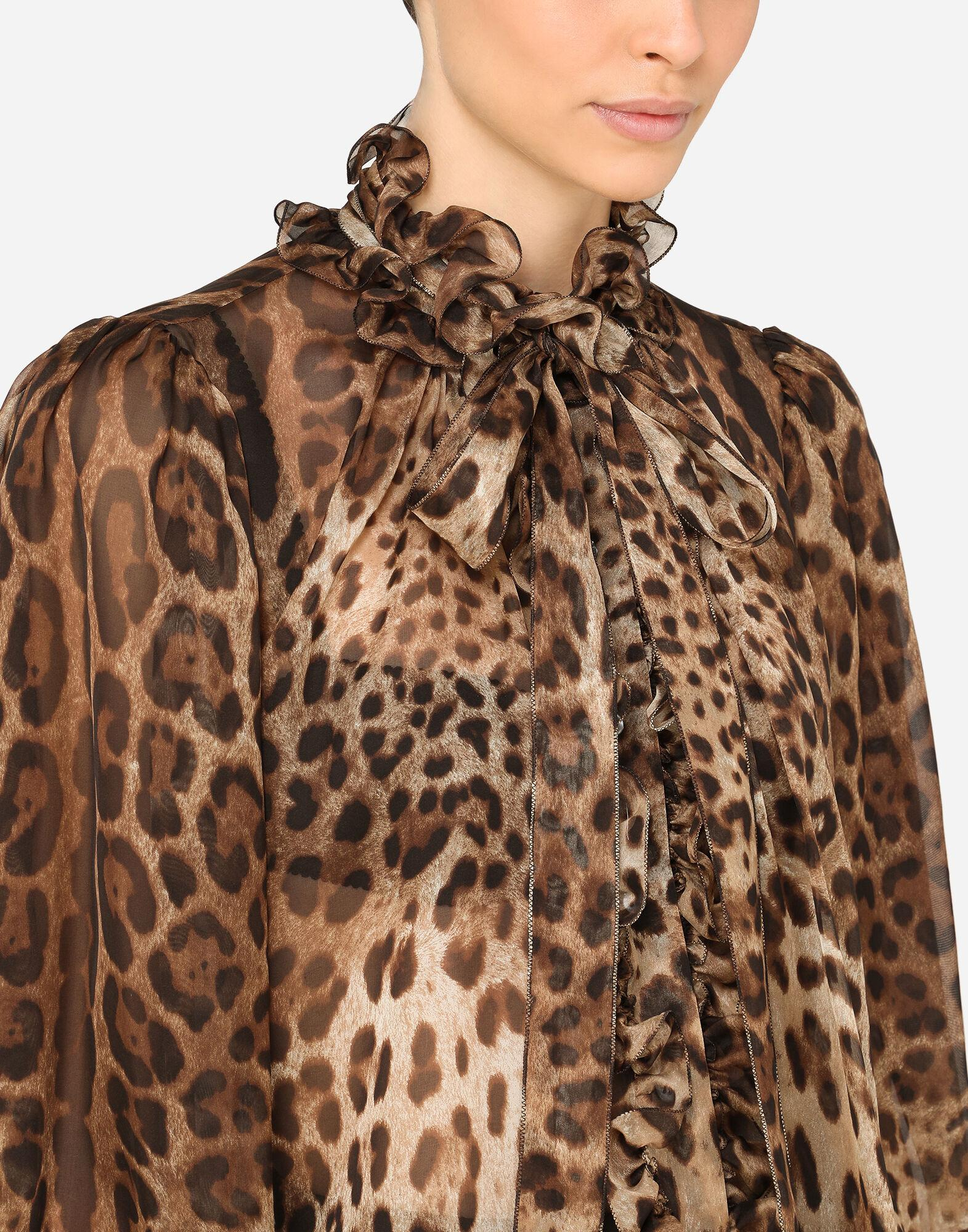 Leopard-print chiffon shirt with ruches and pussy-bow 4