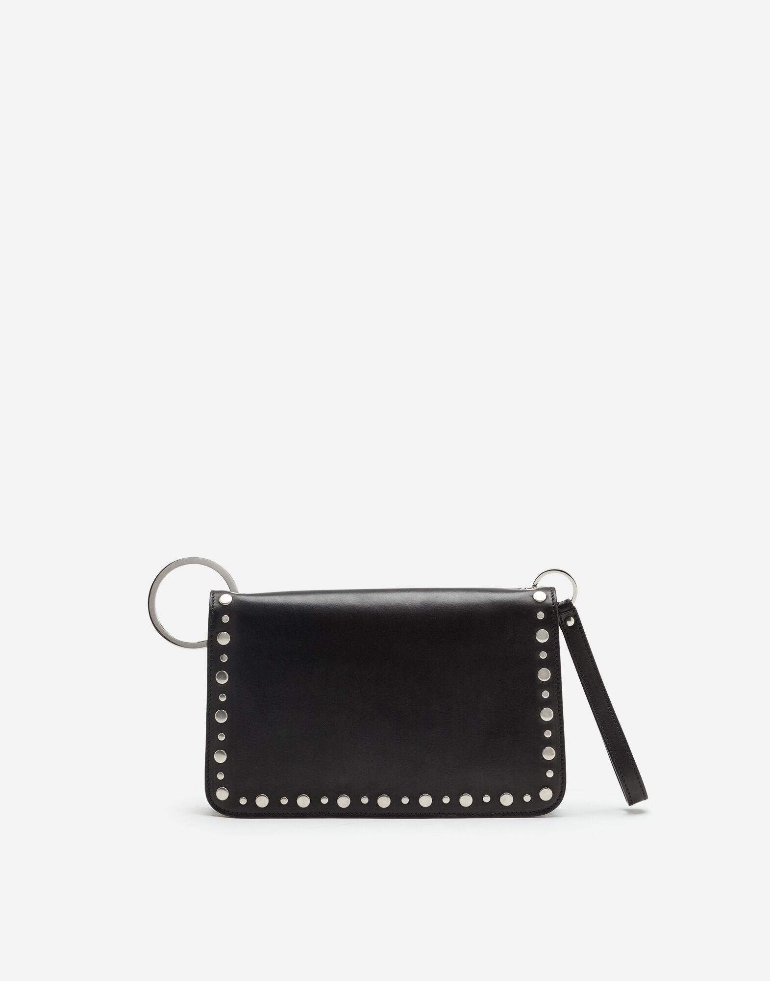 Biker bag in cowhide with embroidered studs 2