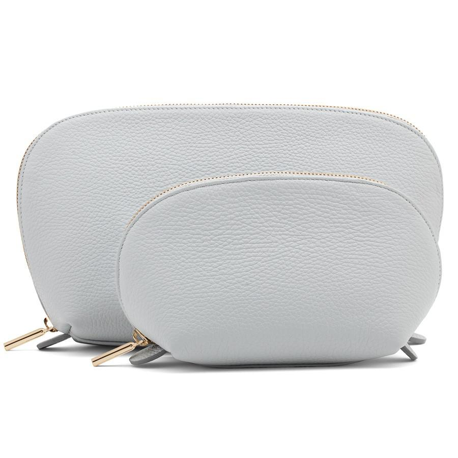 Women's Leather Travel Case Set in Pearl Grey | Pebbled Leather by Cuyana