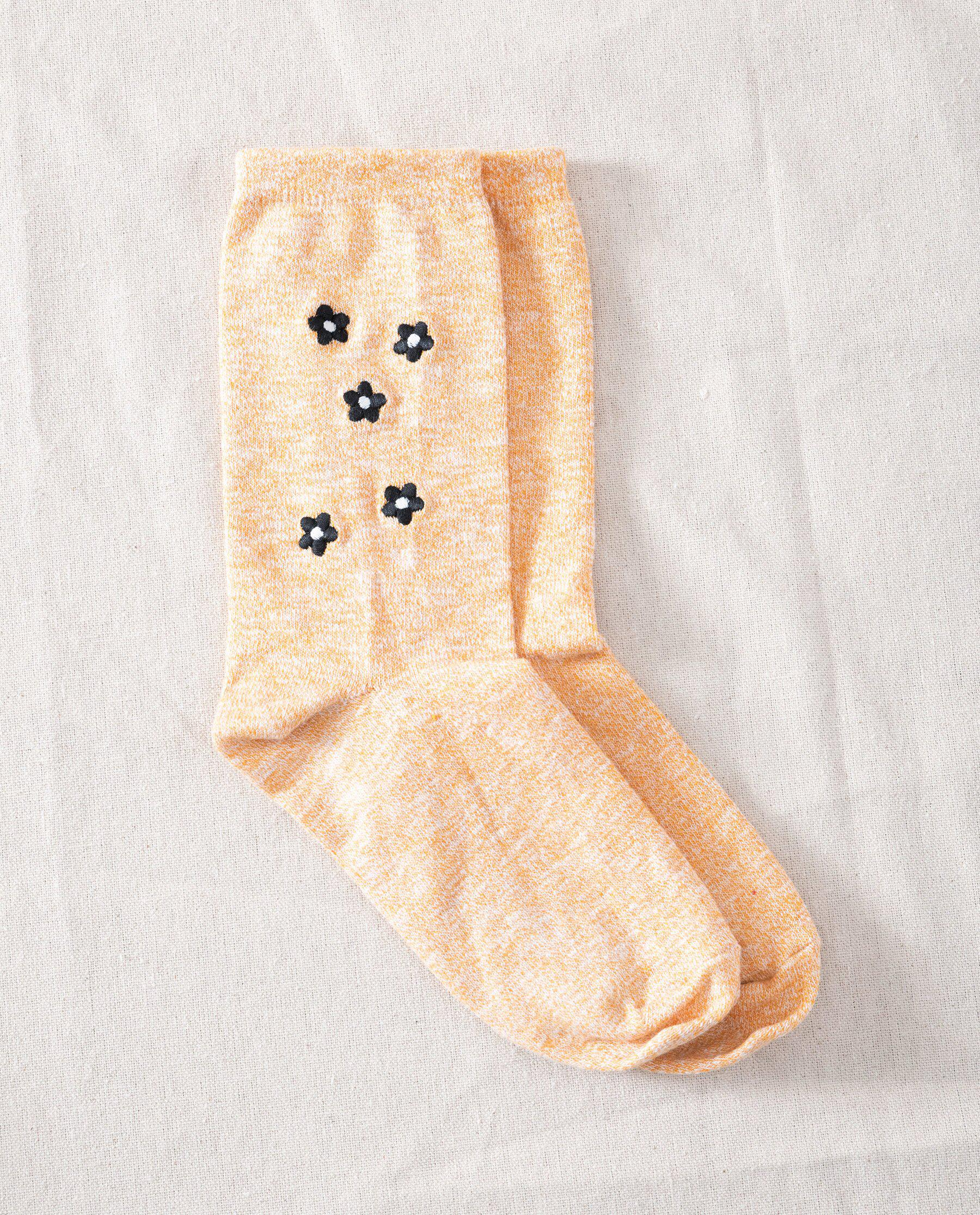 The Great Floral Embroidered Sock. -- Marigold with Multi Floral Embroidery