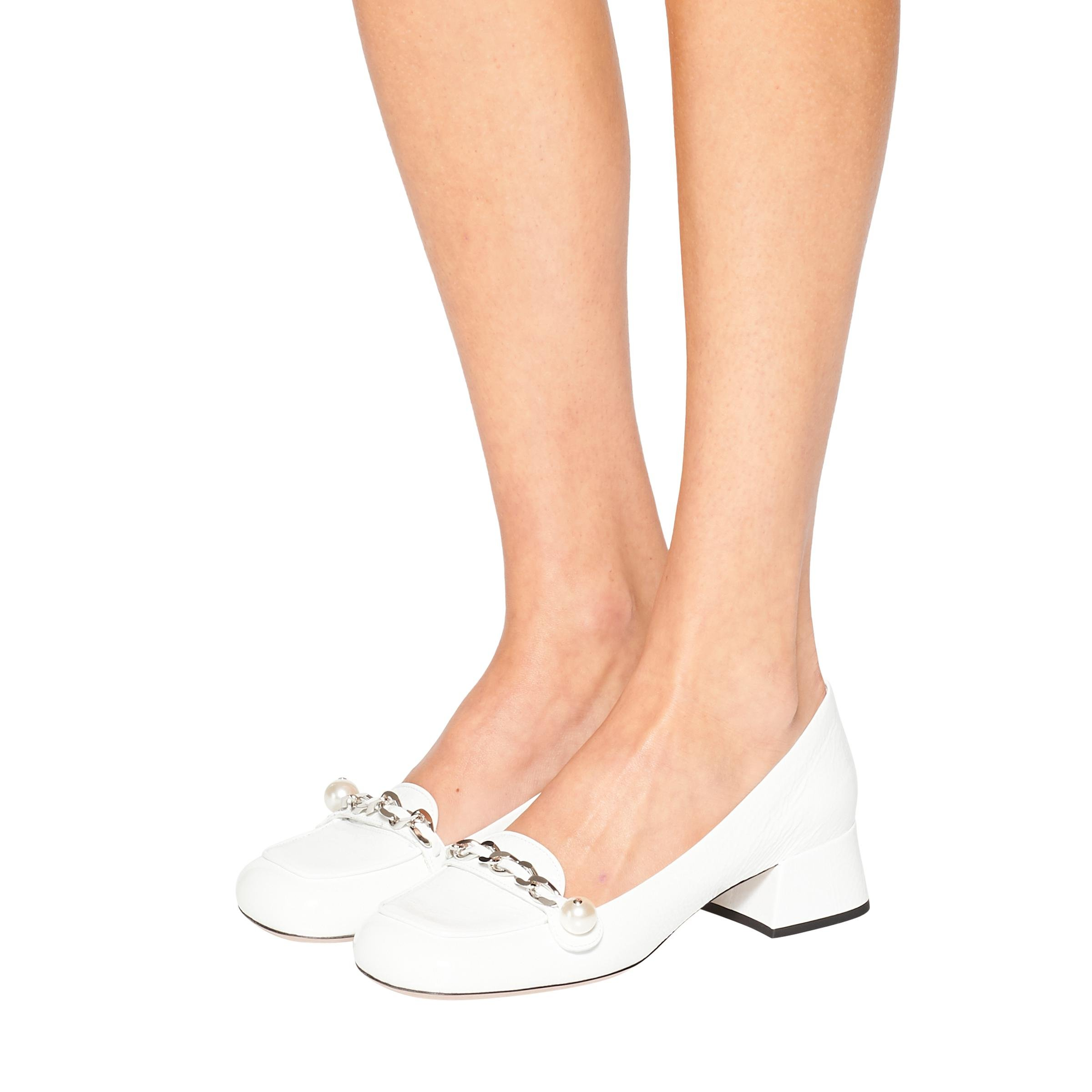 Patent Leather Loafers Women White 4