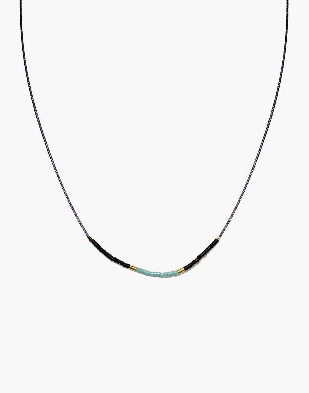 Cast of Stones Beaded Intention Necklace in Turquoise and Black