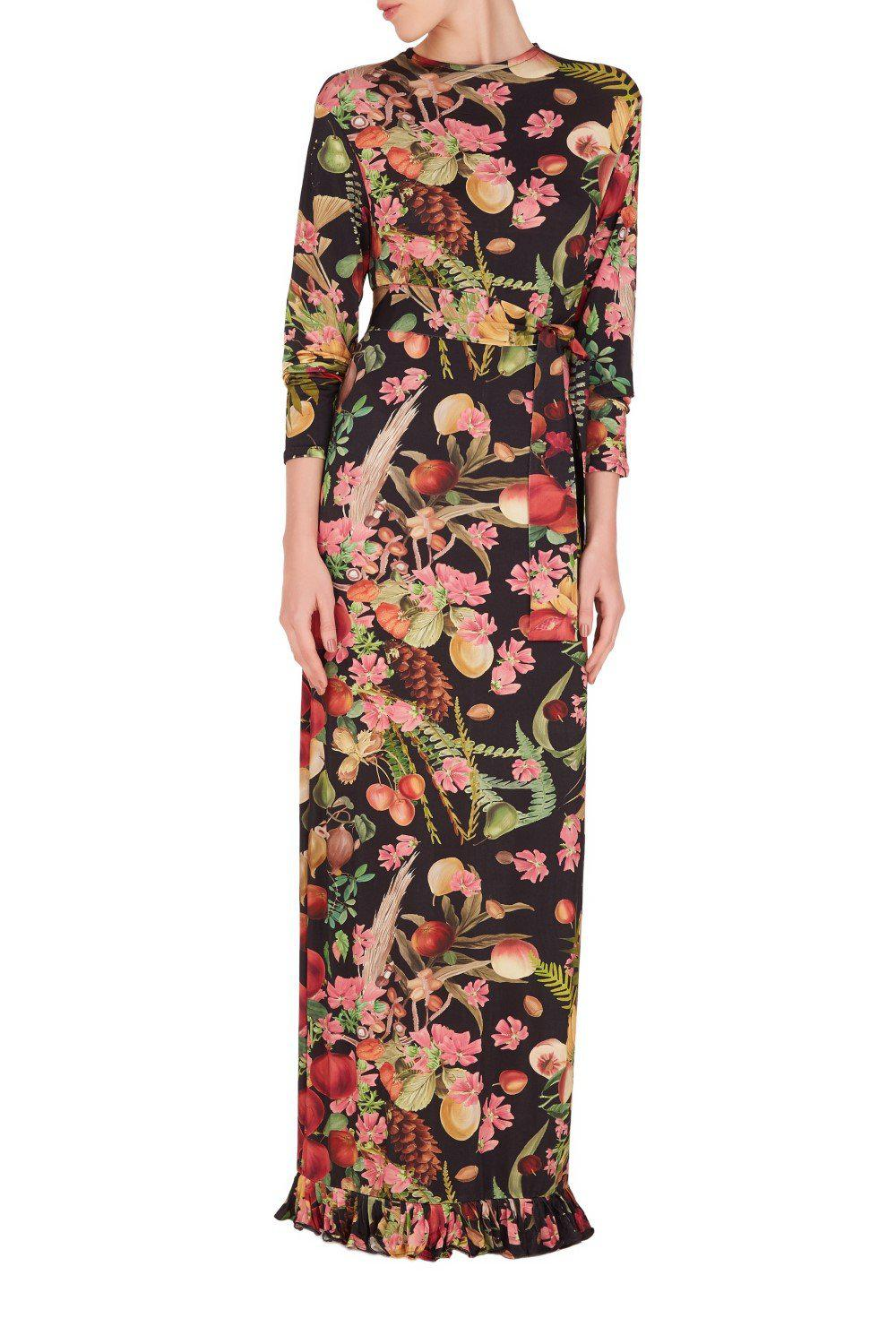 Fruits Exotiques Long Dress with Frills