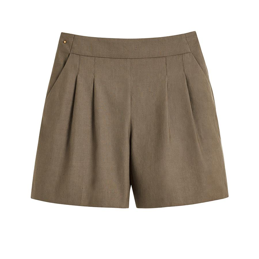 Women's Linen Pleated Front Shorts in Olive | Size: