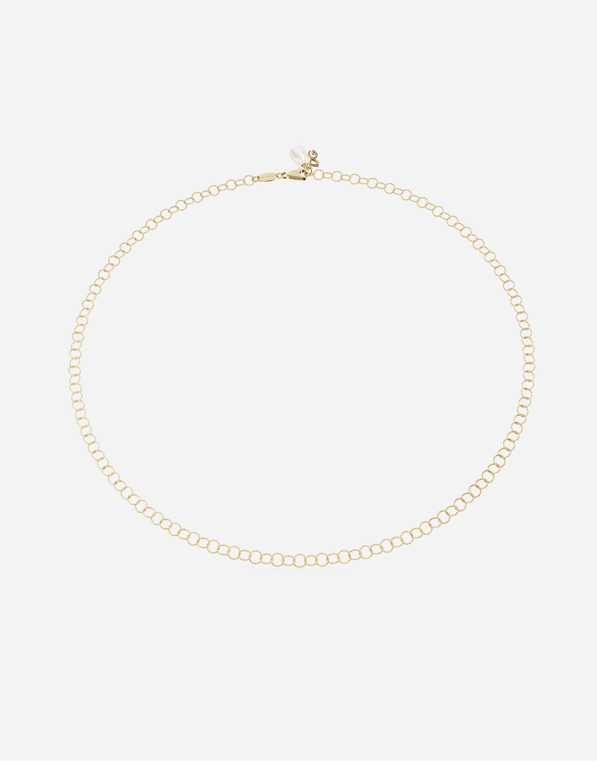 Rainbow alphabet 18 kt yellow gold twisted wire chain necklace