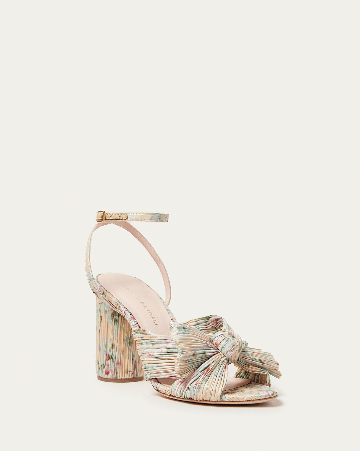 Camellia Floral Pleated Bow Heel