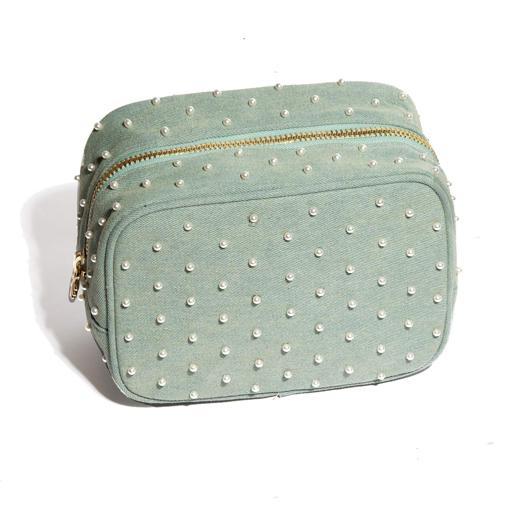 FADED DENIM PEARL EVERYTHING POUCH