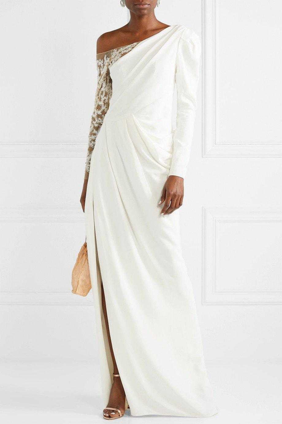 DRAPED CREPE EMBROIDERED GOWN