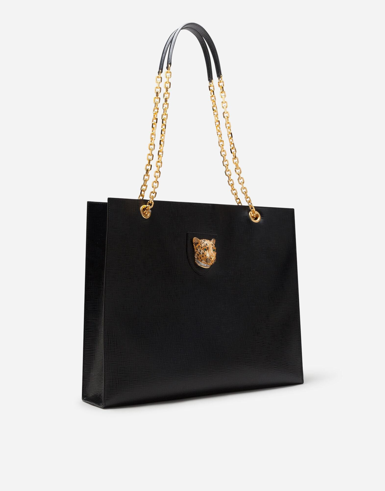 Large jungle bag in calfskin with jewel 1