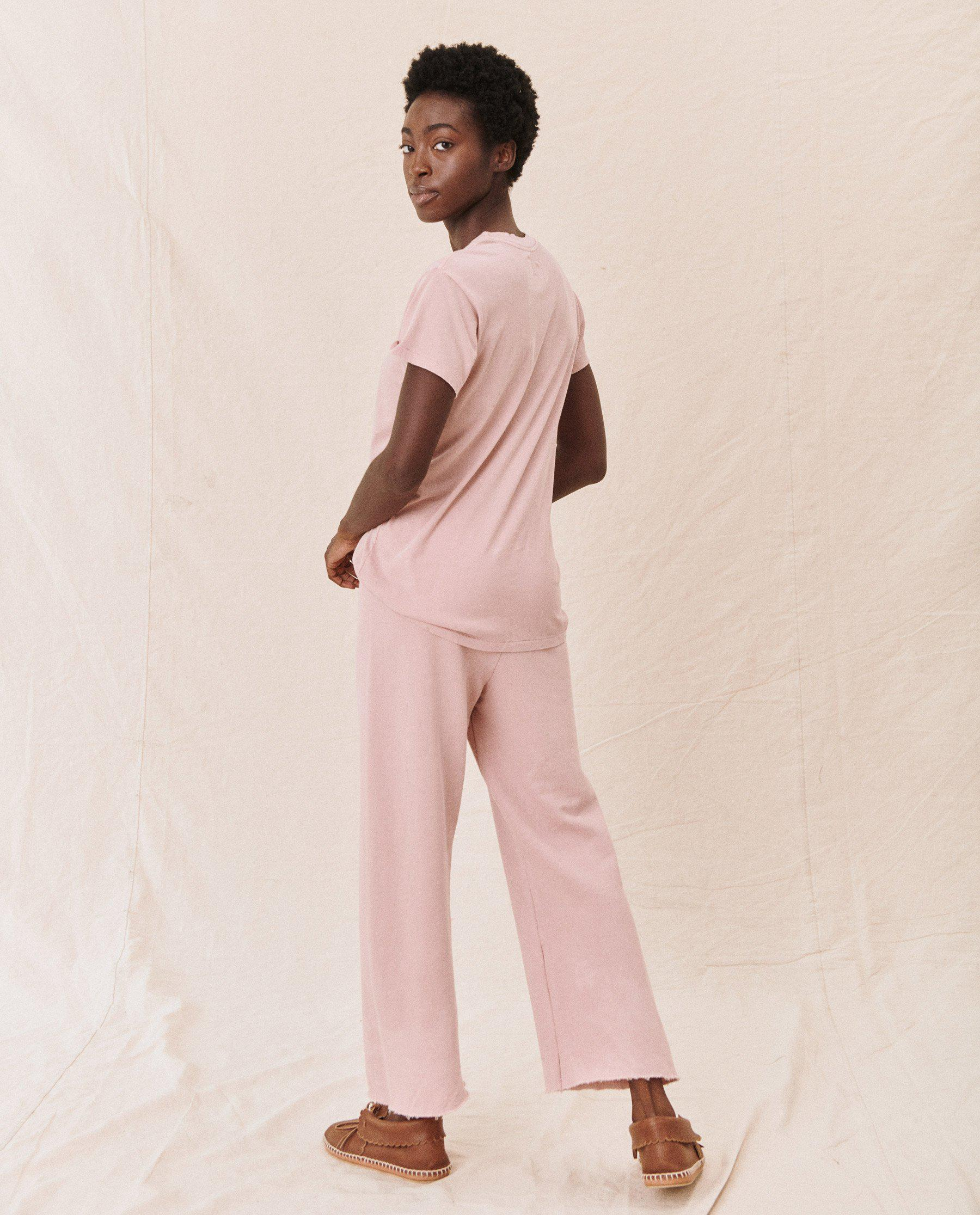 The Wide Leg Cropped Sweatpant. -- CARNATION 2