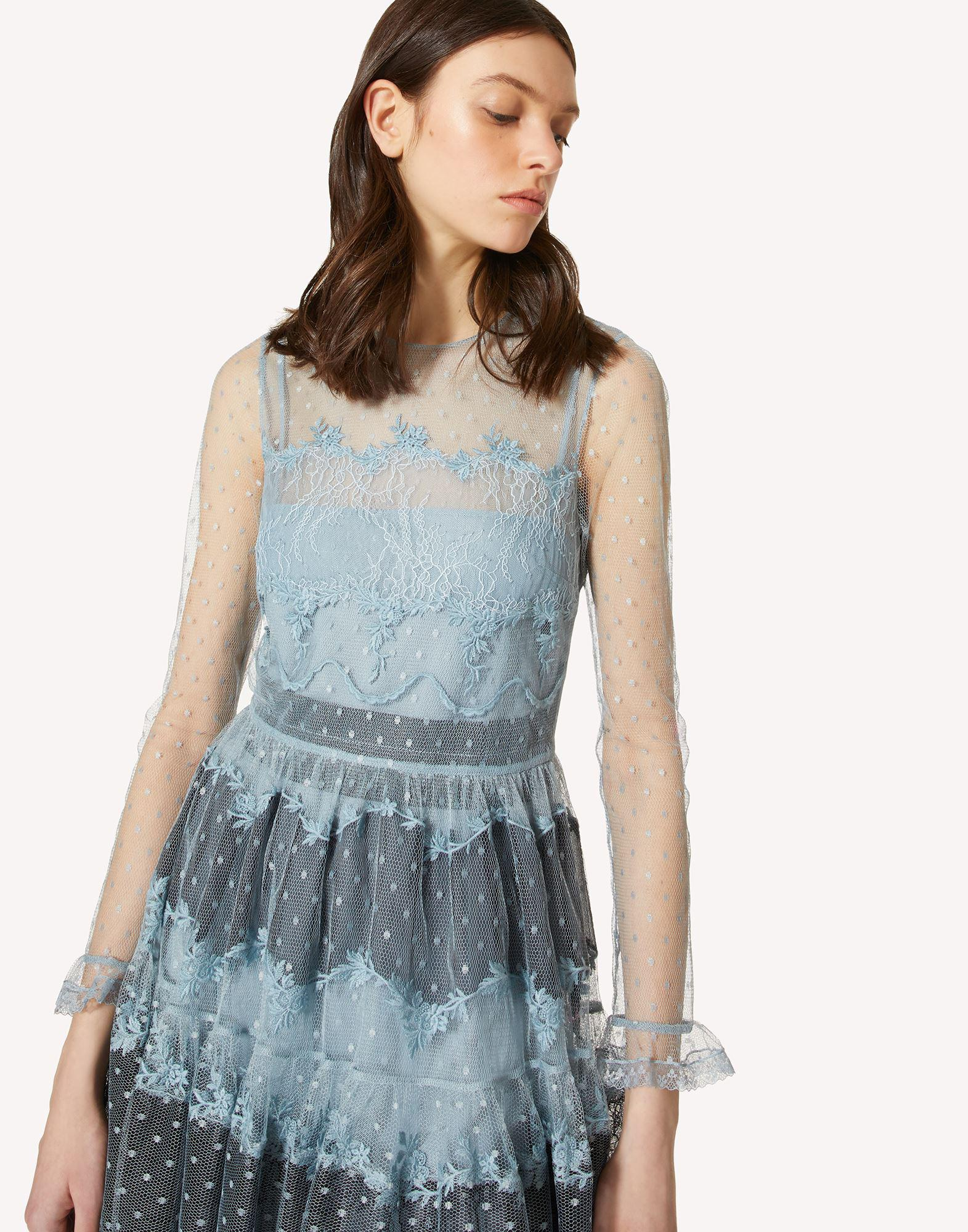 POINT D'ESPRIT TULLE DRESS WITH LACE RIBBONS 3