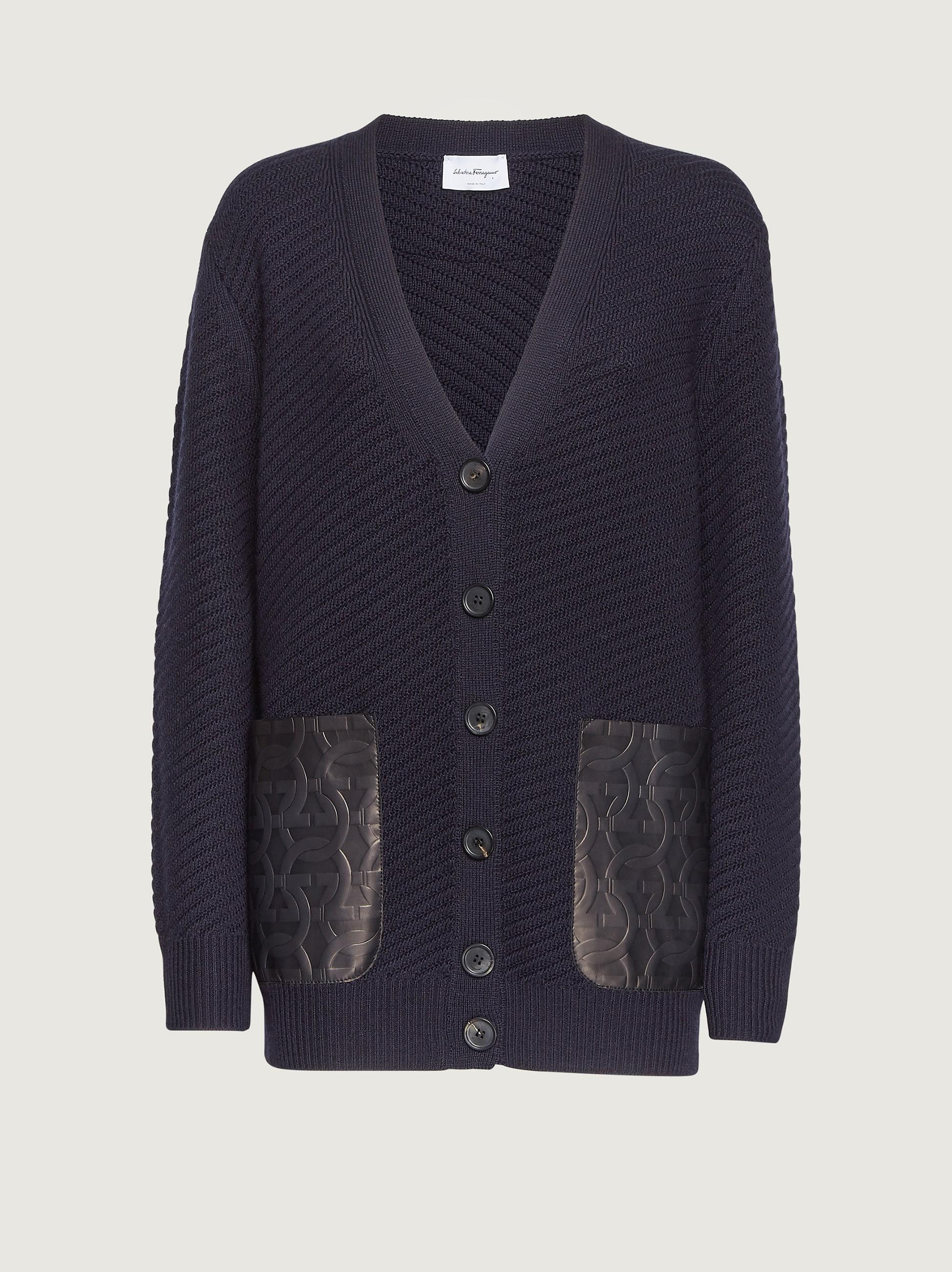 CARDIGAN WITH LEATHER POCKETS 3