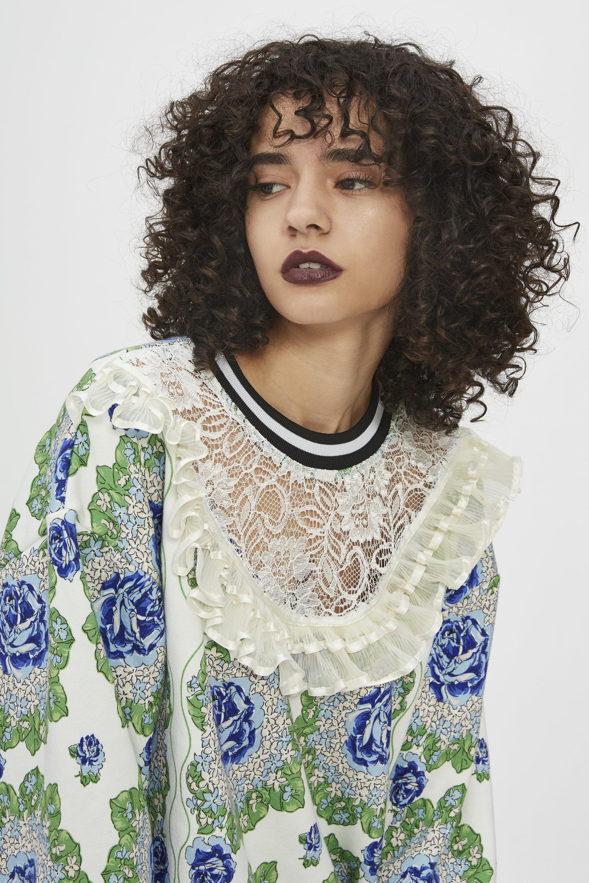 BLUE AND GREEN FLORAL PRINTED SWEATSHIRT 2