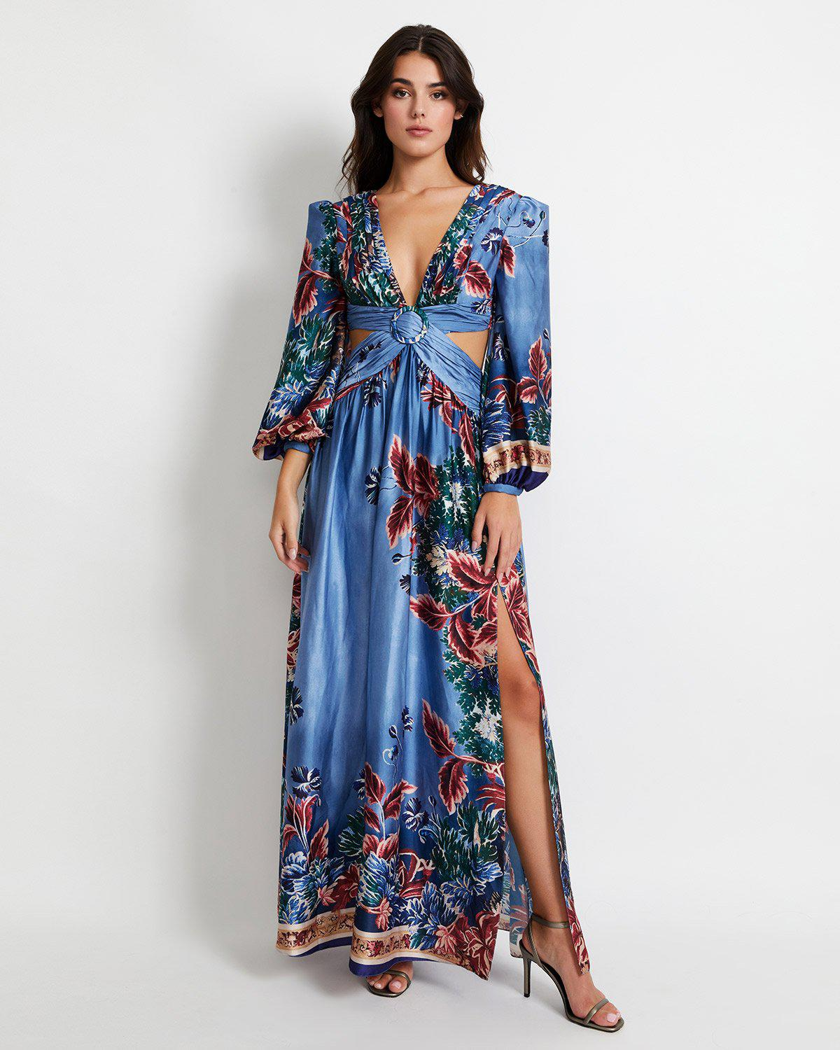 Gilly Print Cut-Out Maxi Dress
