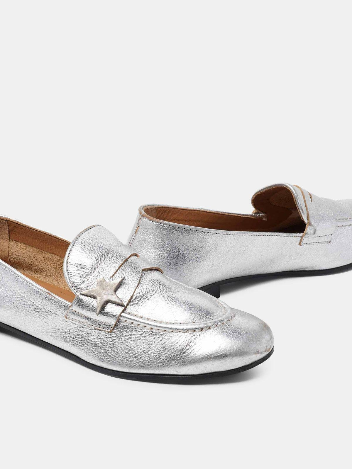 Virginia loafers in silver leather 3
