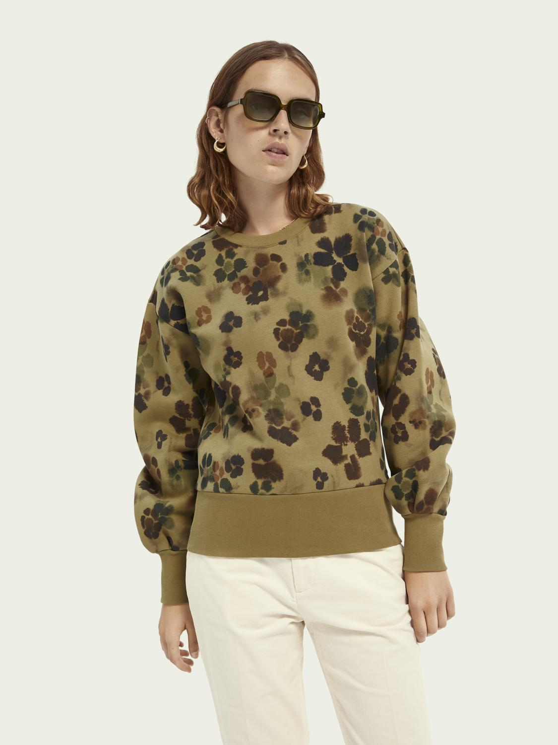 Floral balloon-sleeved sweater
