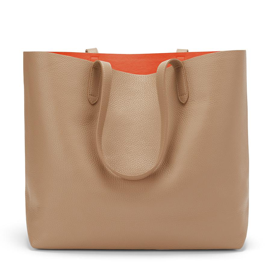 Women's Classic Structured Leather Tote Bag in Cappuccino/Orange | Pebbled Leather by Cuyana