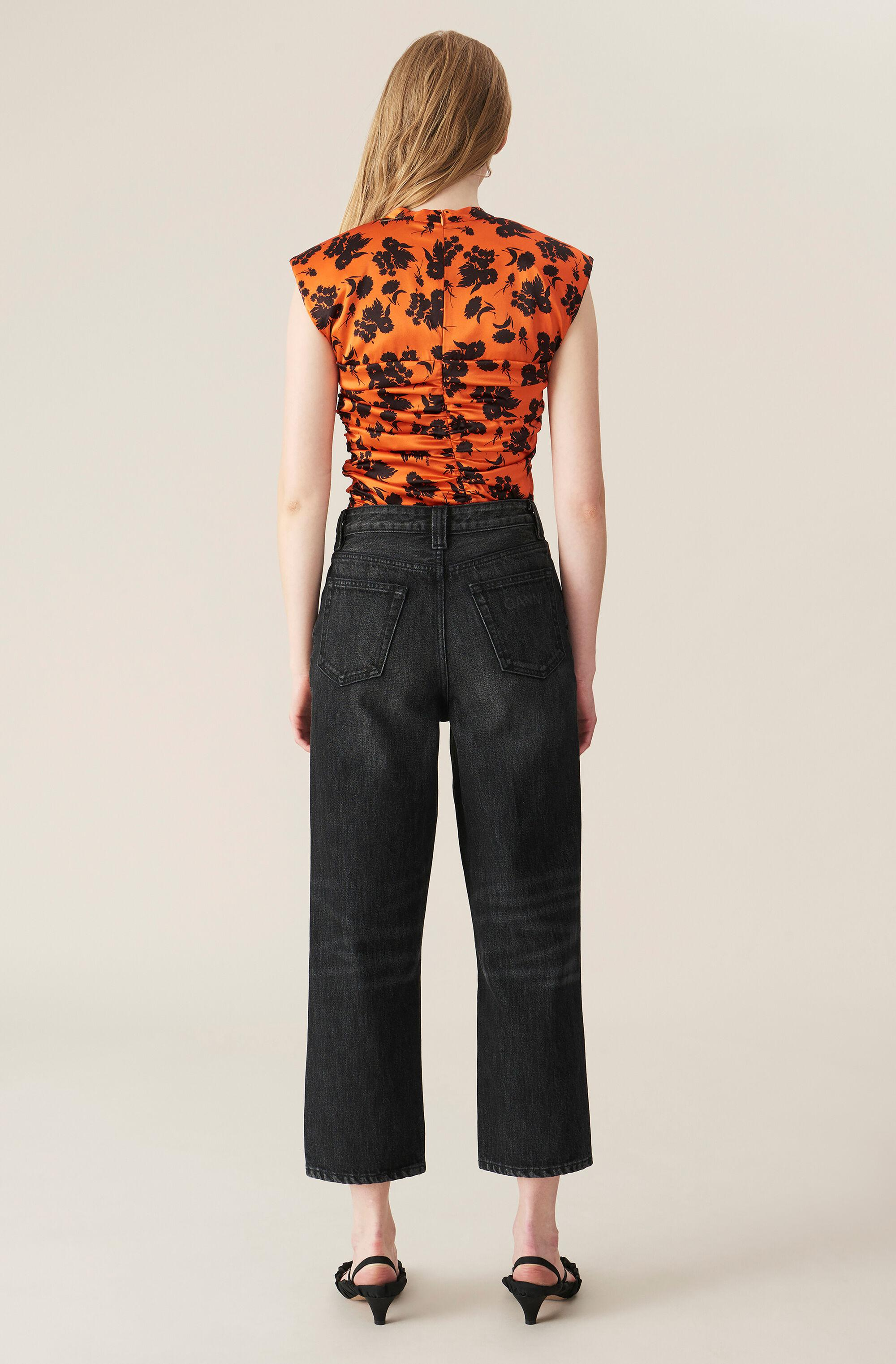 Washed Denim High-waisted Cropped Jeans 1