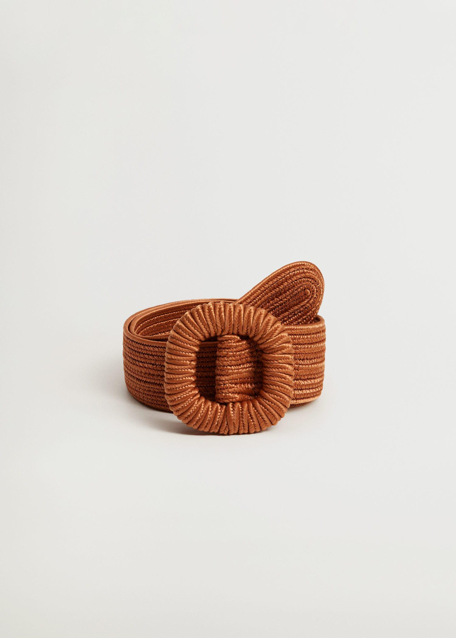 Textured square buckle belt