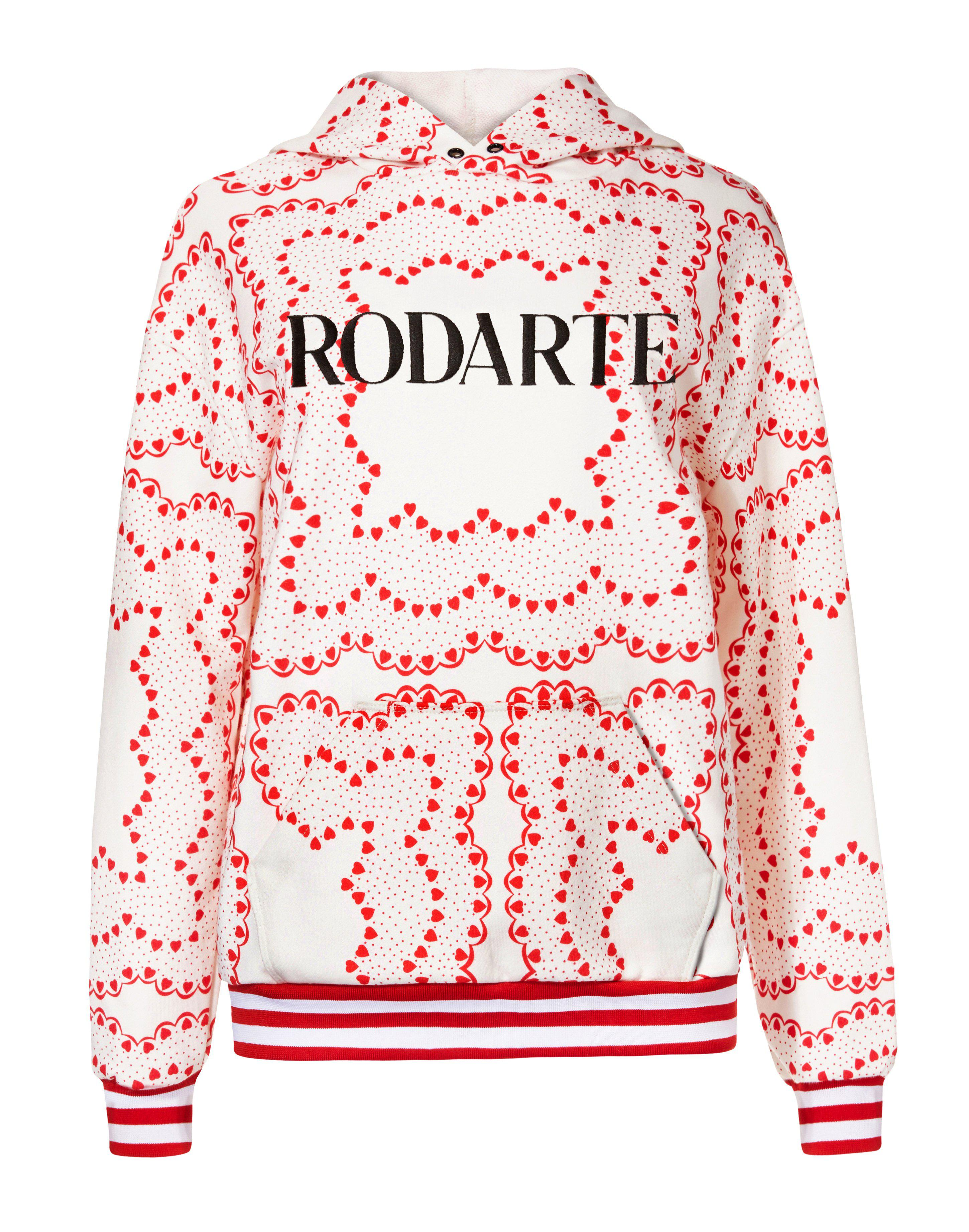 HEART PRINT EMBROIDERED LOGO HOODIE