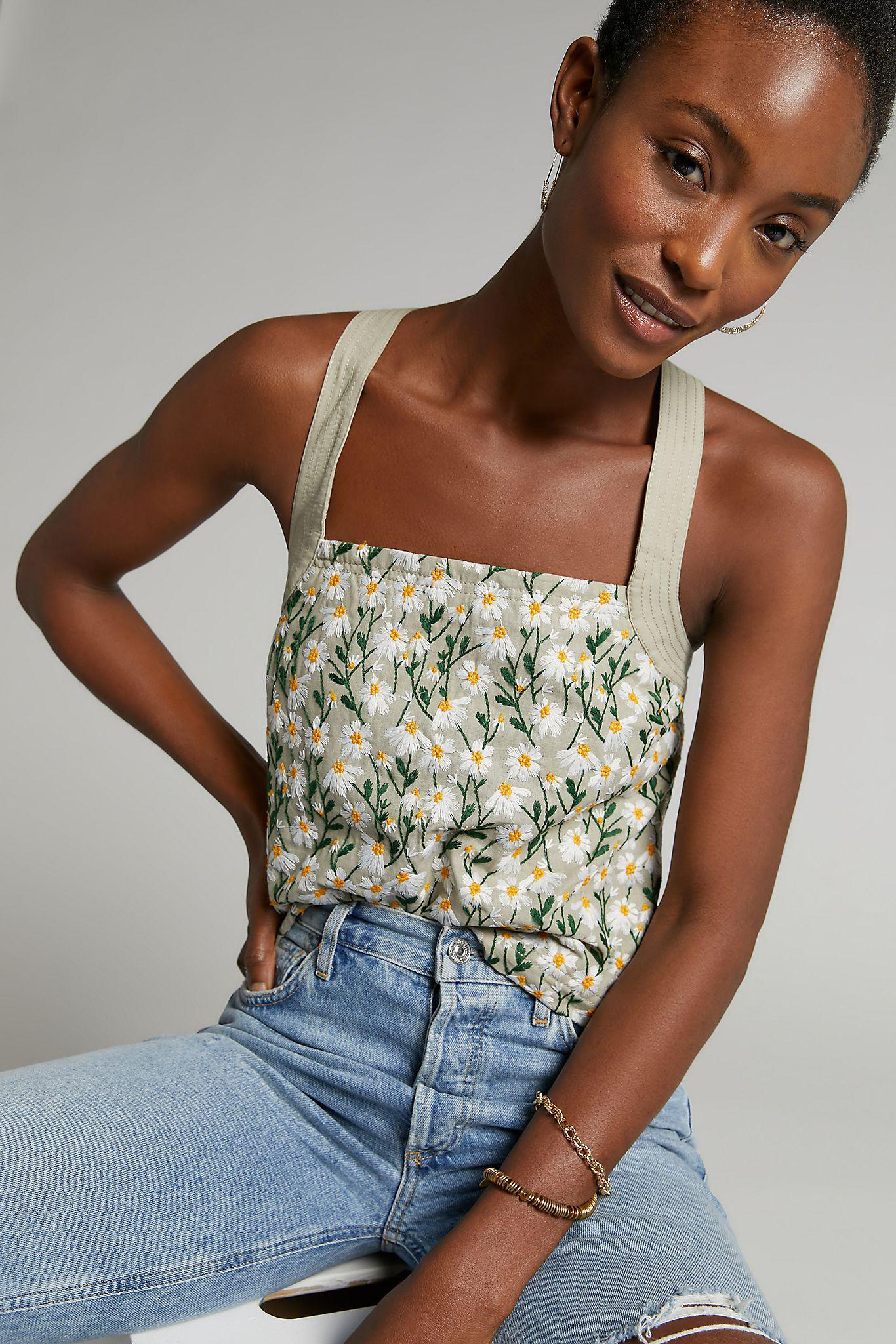 Maeve Daisy Embroidered Tank