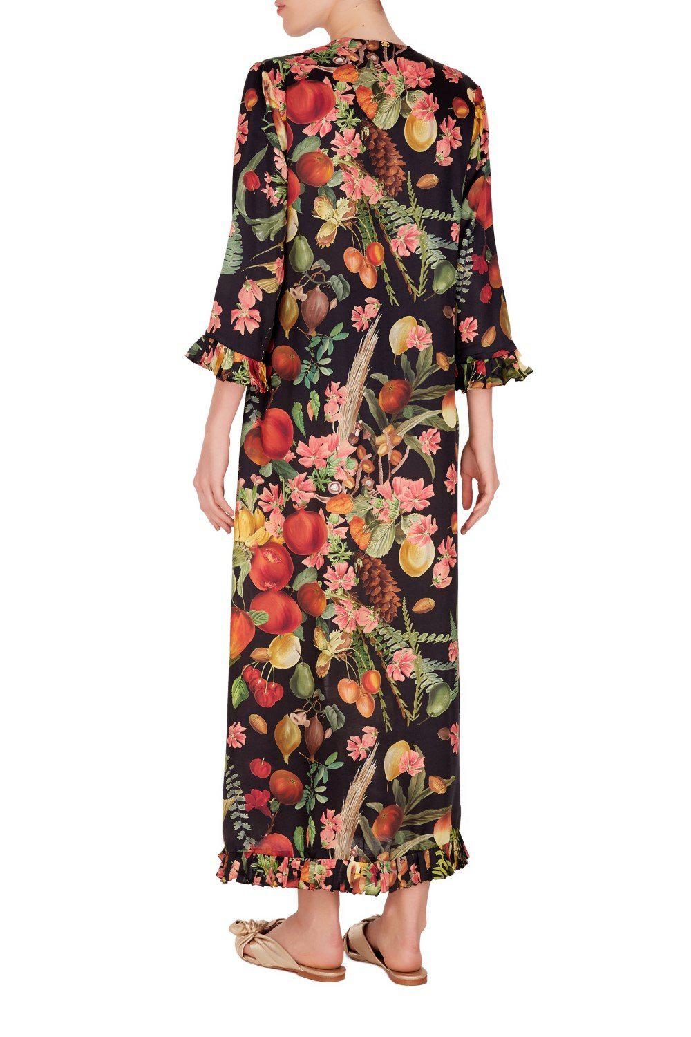 Fruits Exotiques Long Robe with Frills 2