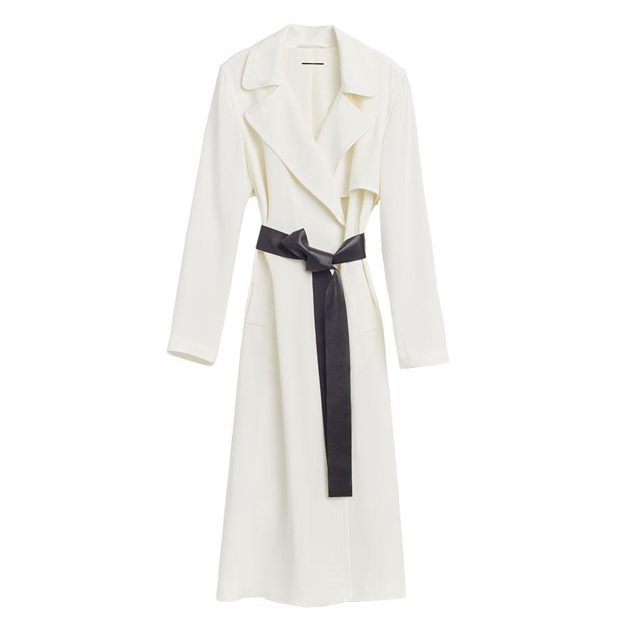 Women's Silk Classic Trench in White | Size: