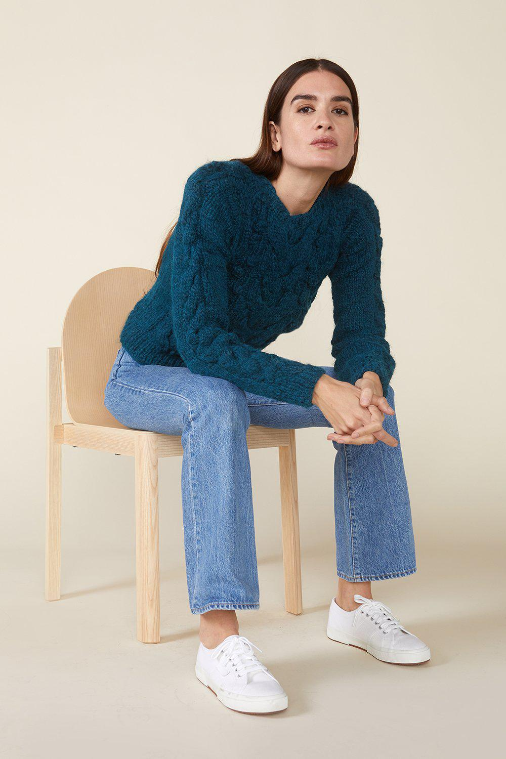 OSSIE SWEATER, TEAL 1