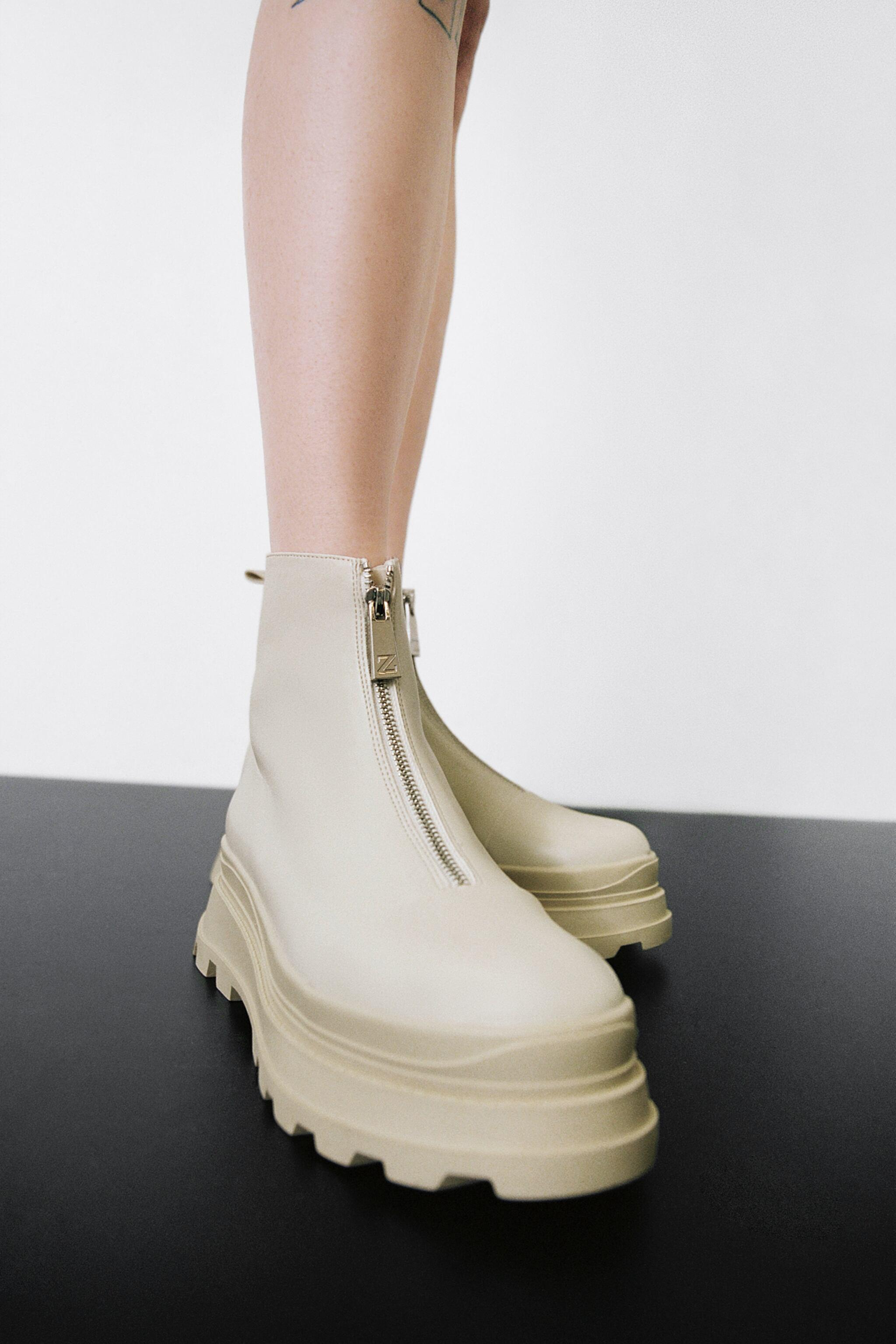 ZIPPERED LOW HEEL LUG SOLE ANKLE BOOTS