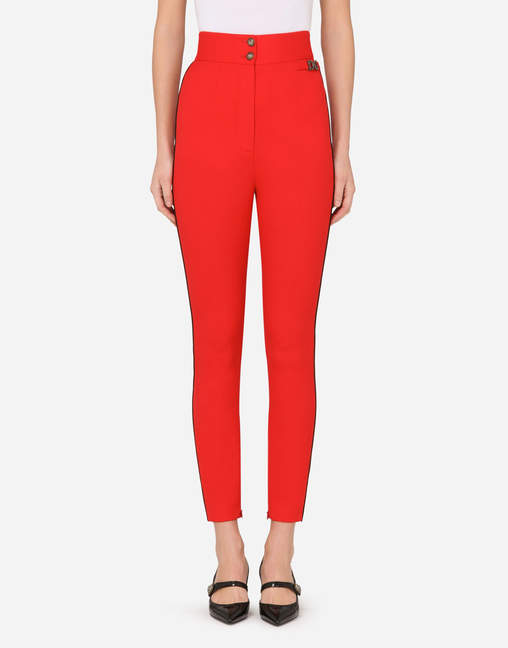 High-waisted wool twill leggings with DG detail
