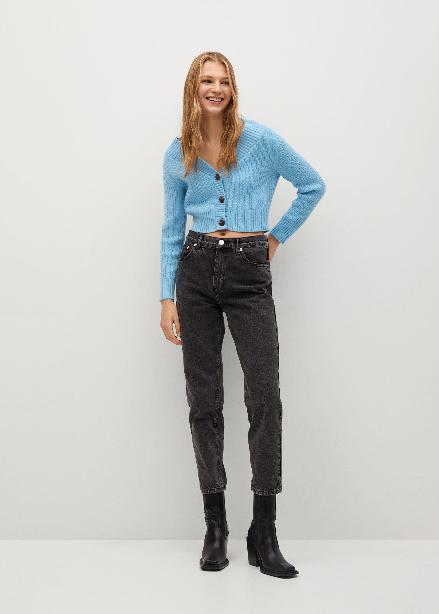 Cropped cardigan with buttons 1