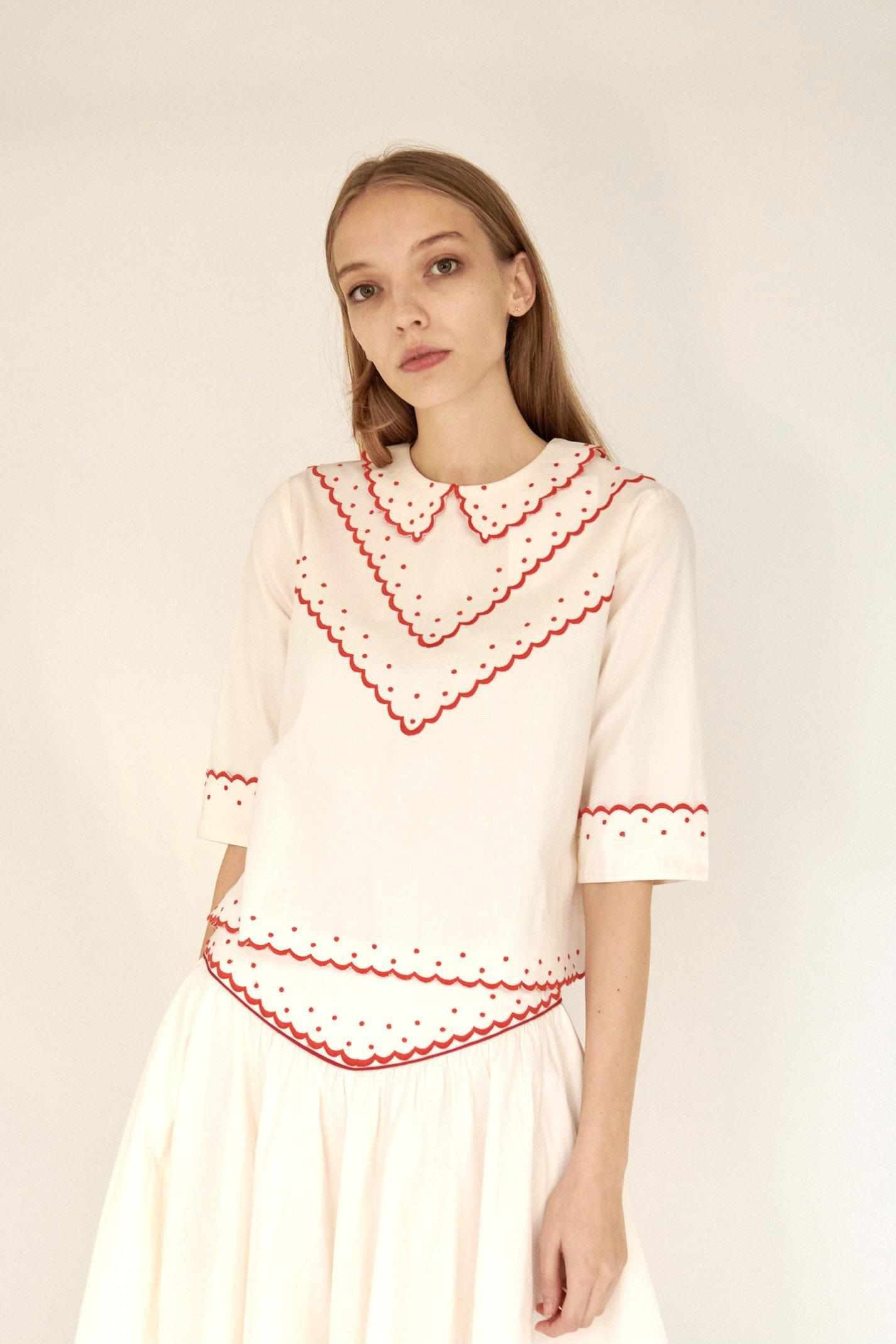 Shirley Blouse in Cream with Red Embroidery