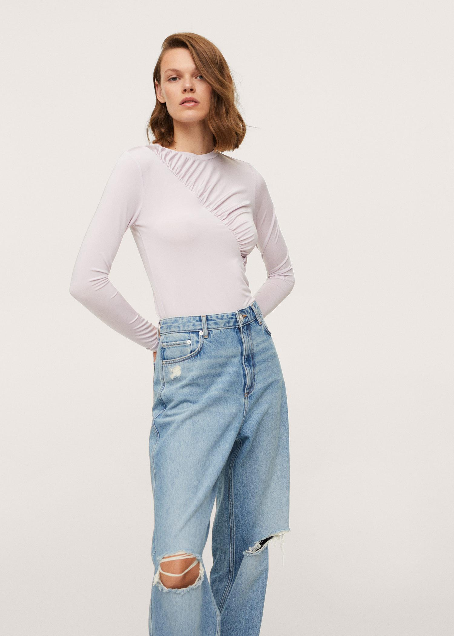 Long-sleeved t-shirt with ruffles