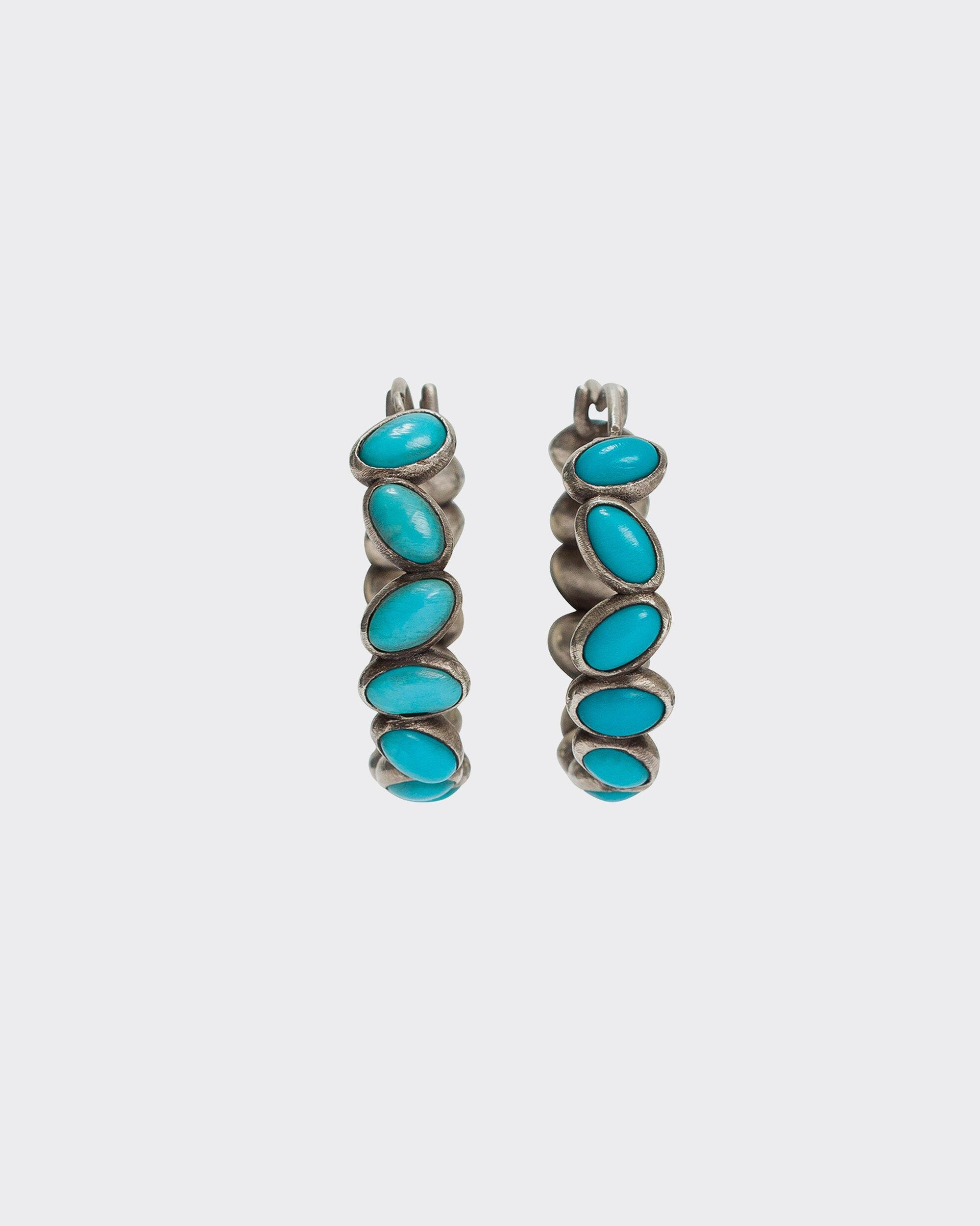 CANNA SILVER AND TURQUOISE BEAD EARRINGS