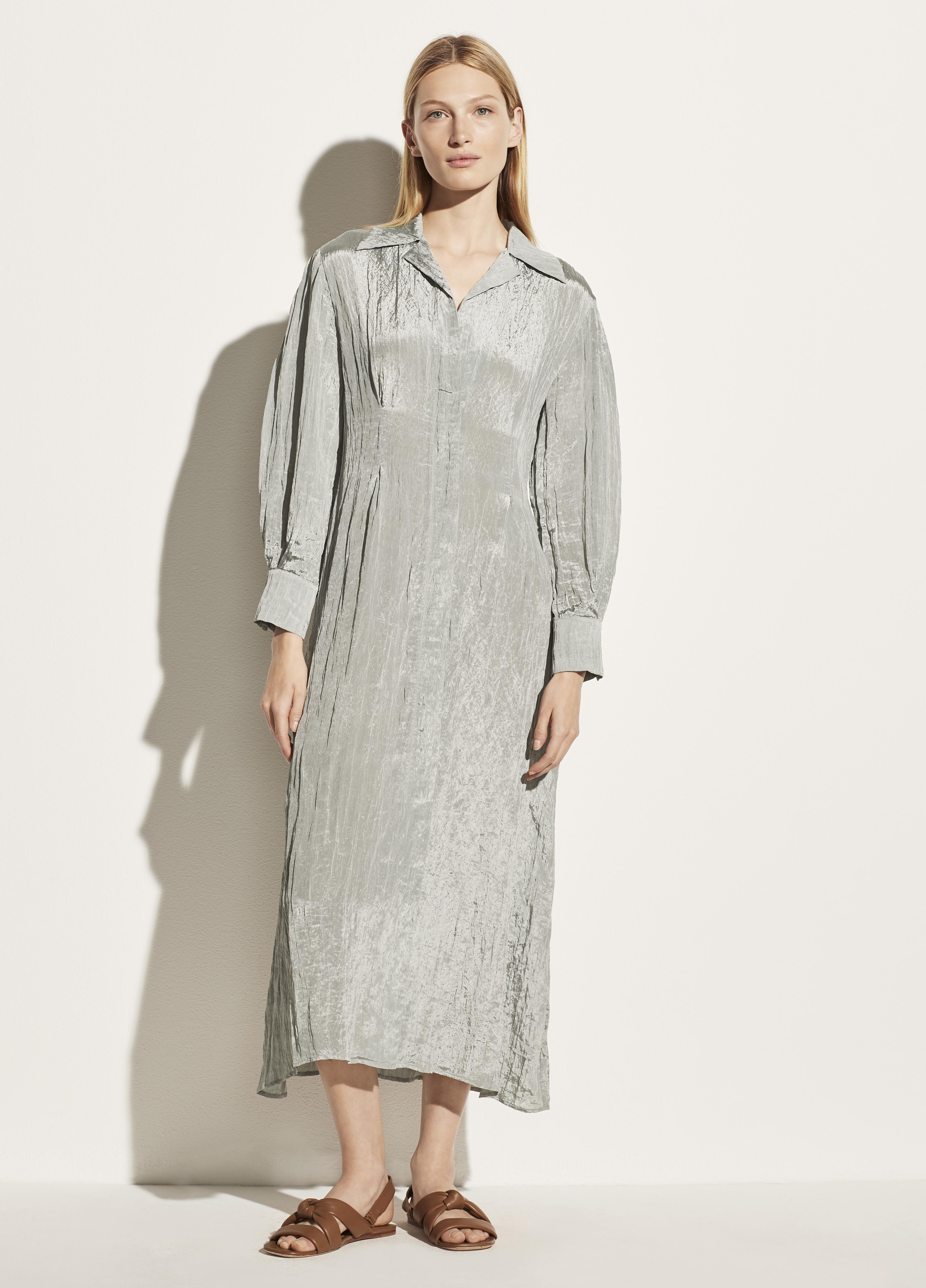 Long Sleeve Shaped Collar Fitted Dress