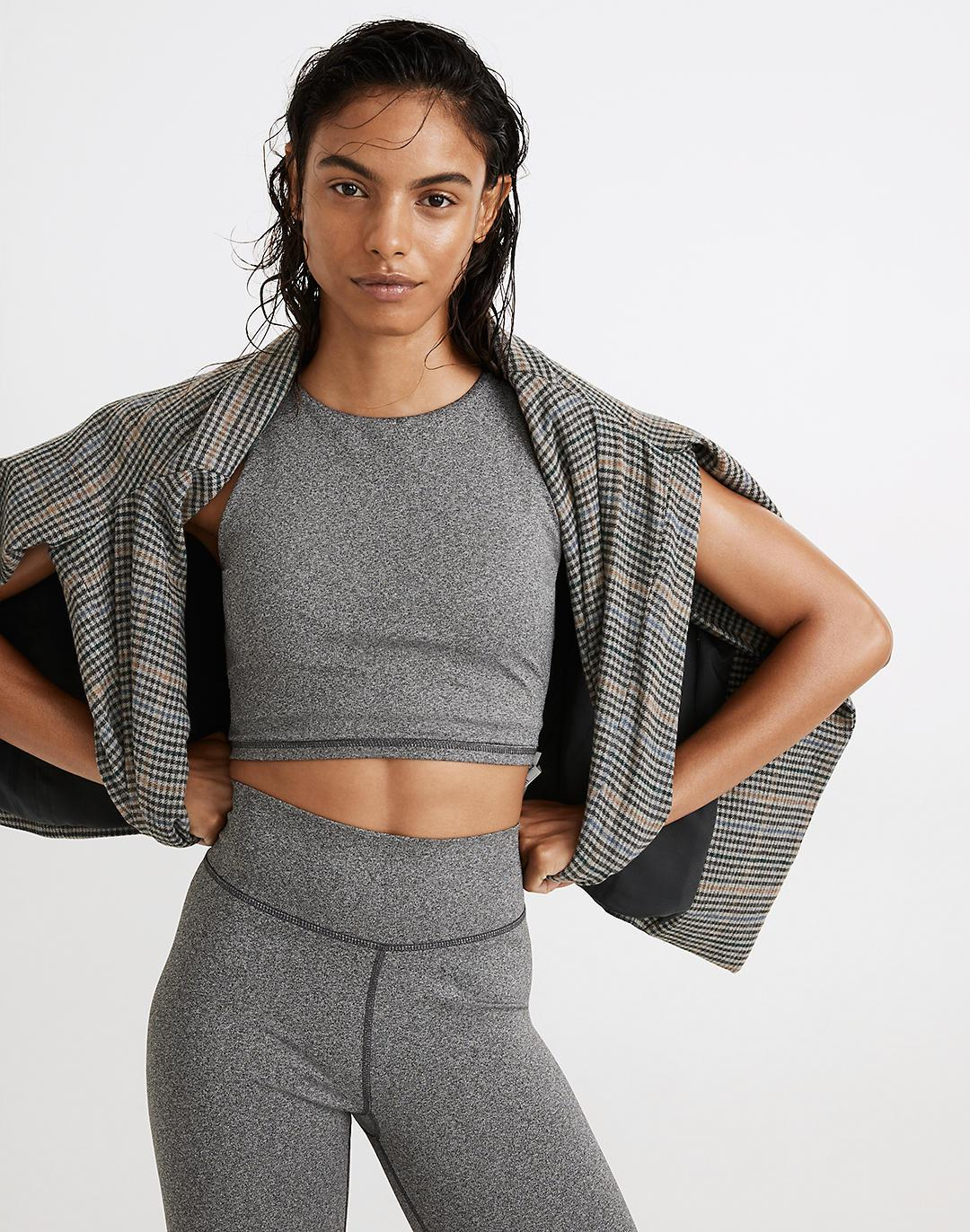MWL Form Racerback Crop Top in Heathered Charcoal