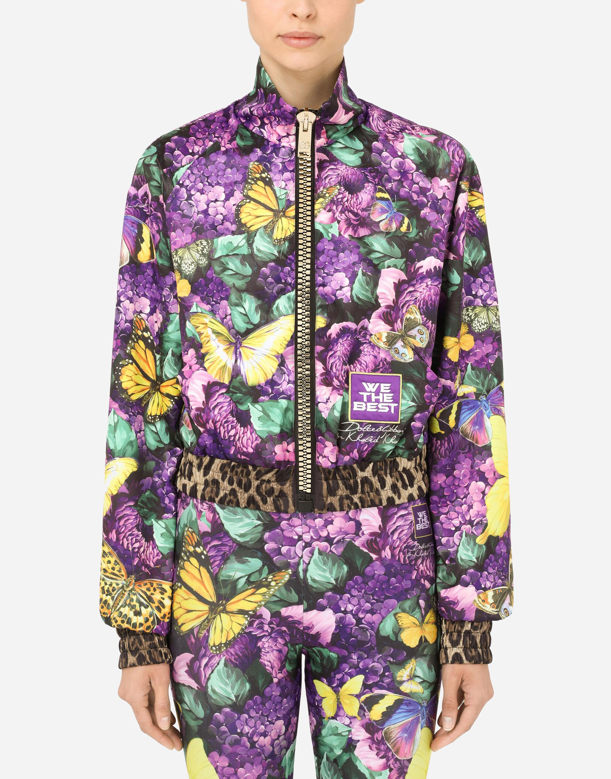 Cropped butterfly-print bomber jacket 4