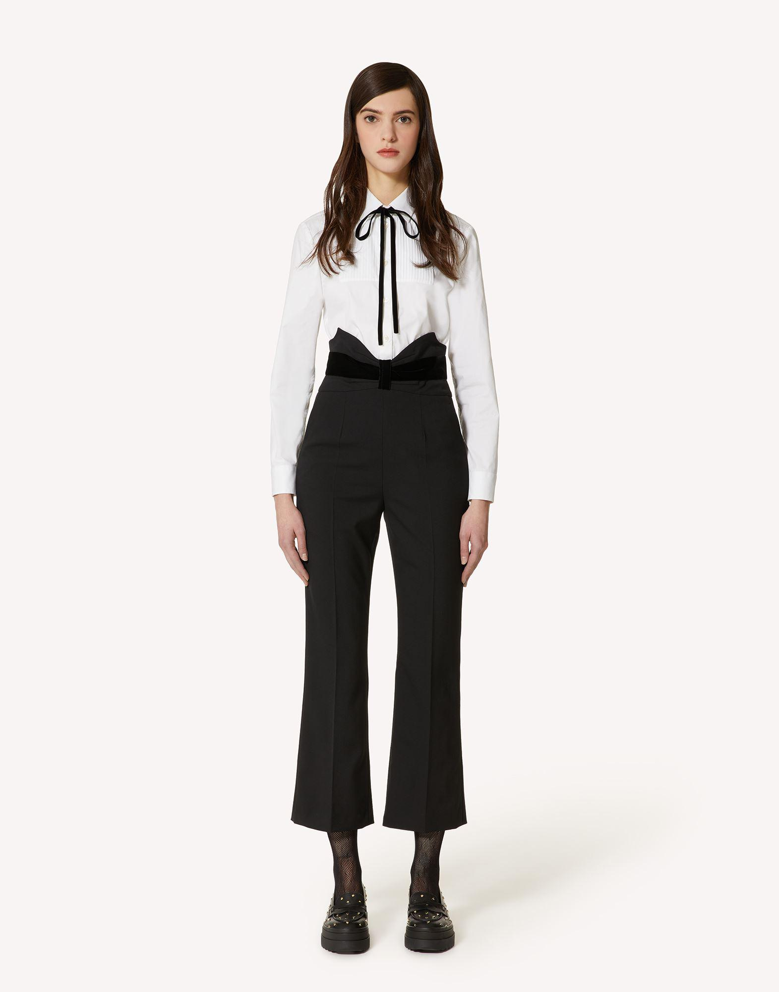 TUXEDO BOW DETAIL WOOL STRETCH REPS PANTS