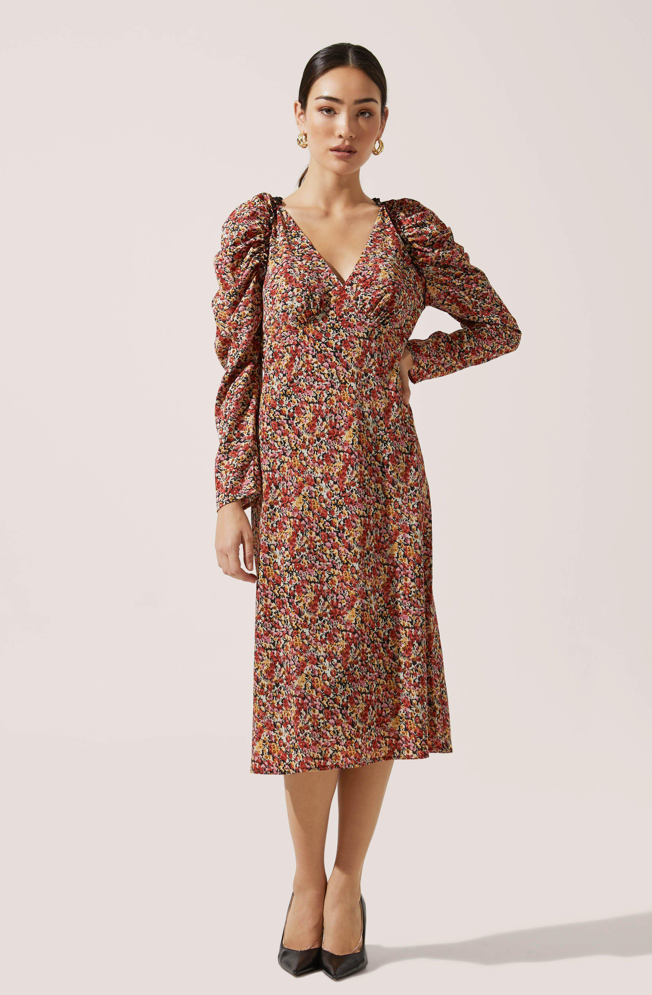 Ruched Sleeve Floral Midi
