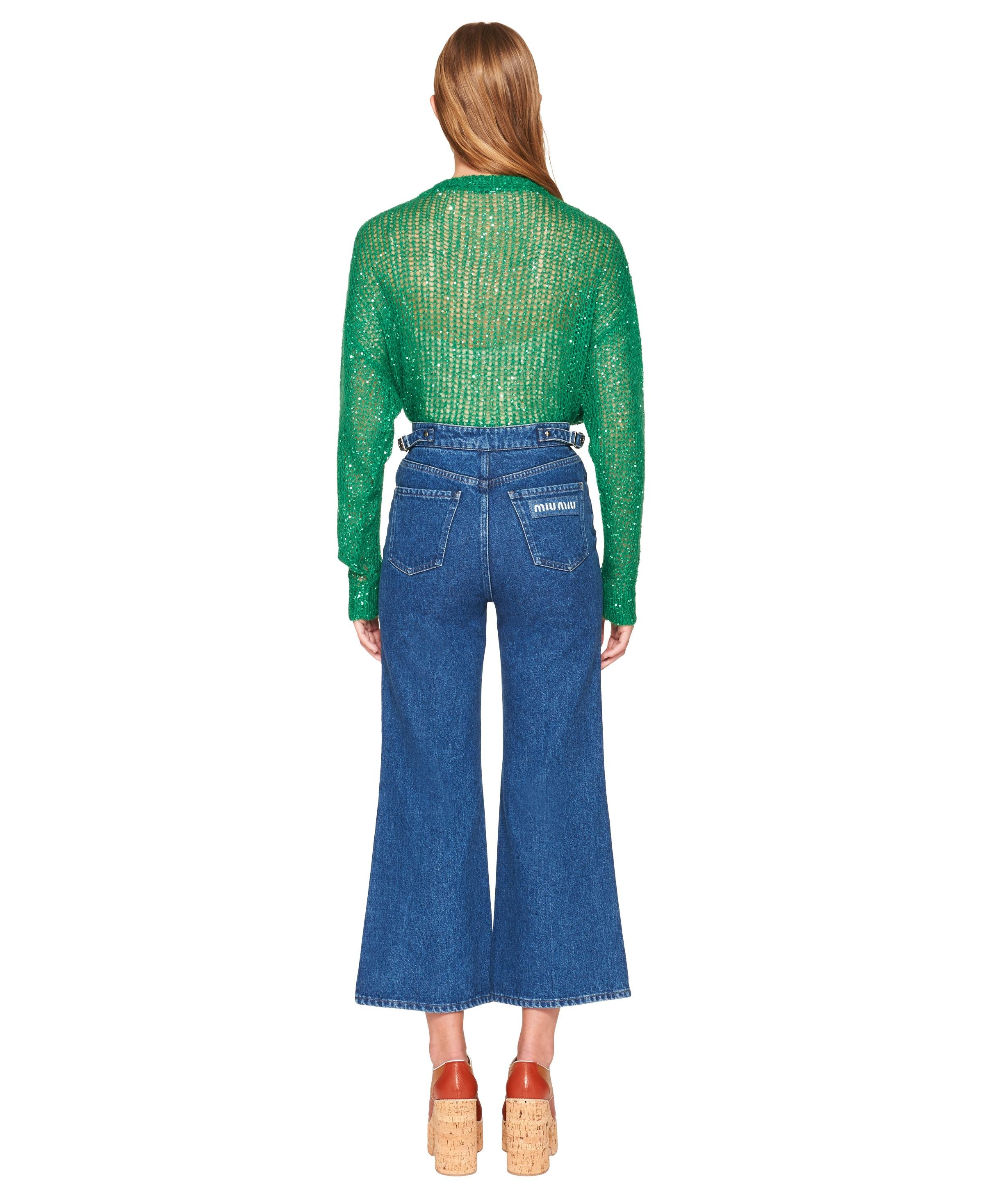 Sequined Mohair Pullover Women Lawn Green 3